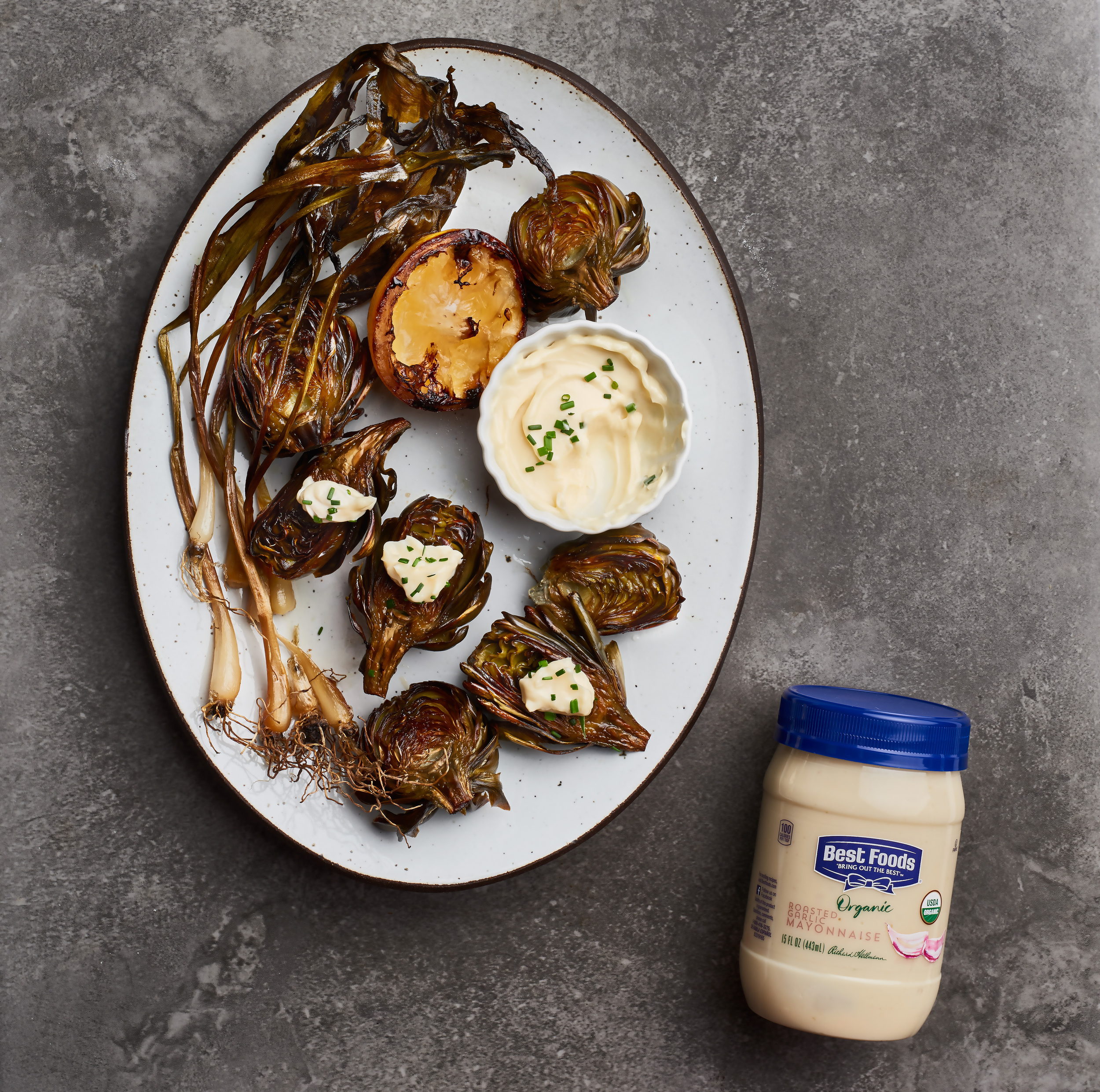 Roasted Artichokes with Whipped Shallot-Garlic Mayonnaise