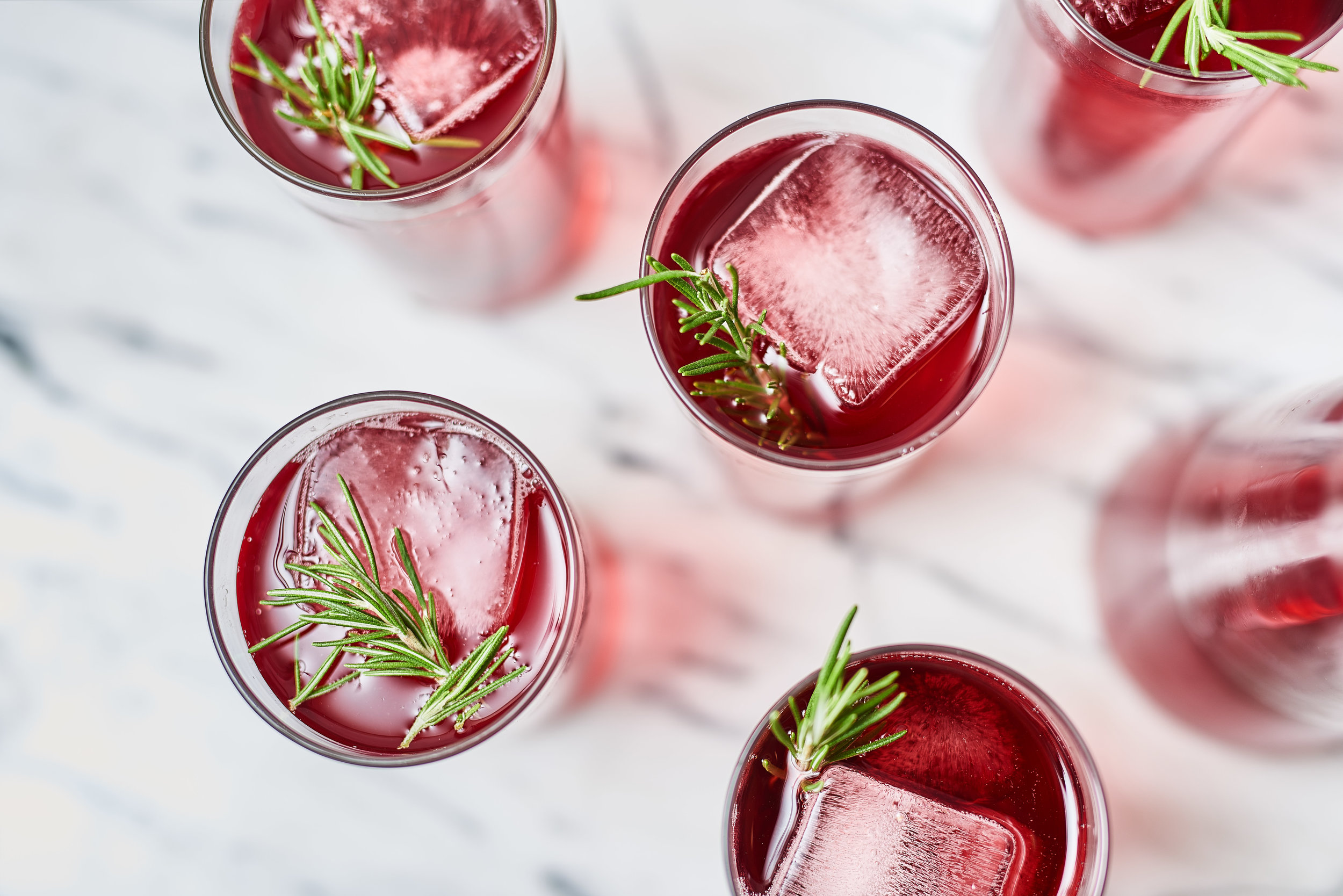 Pomegranate Cranberry Punch with Rosemary