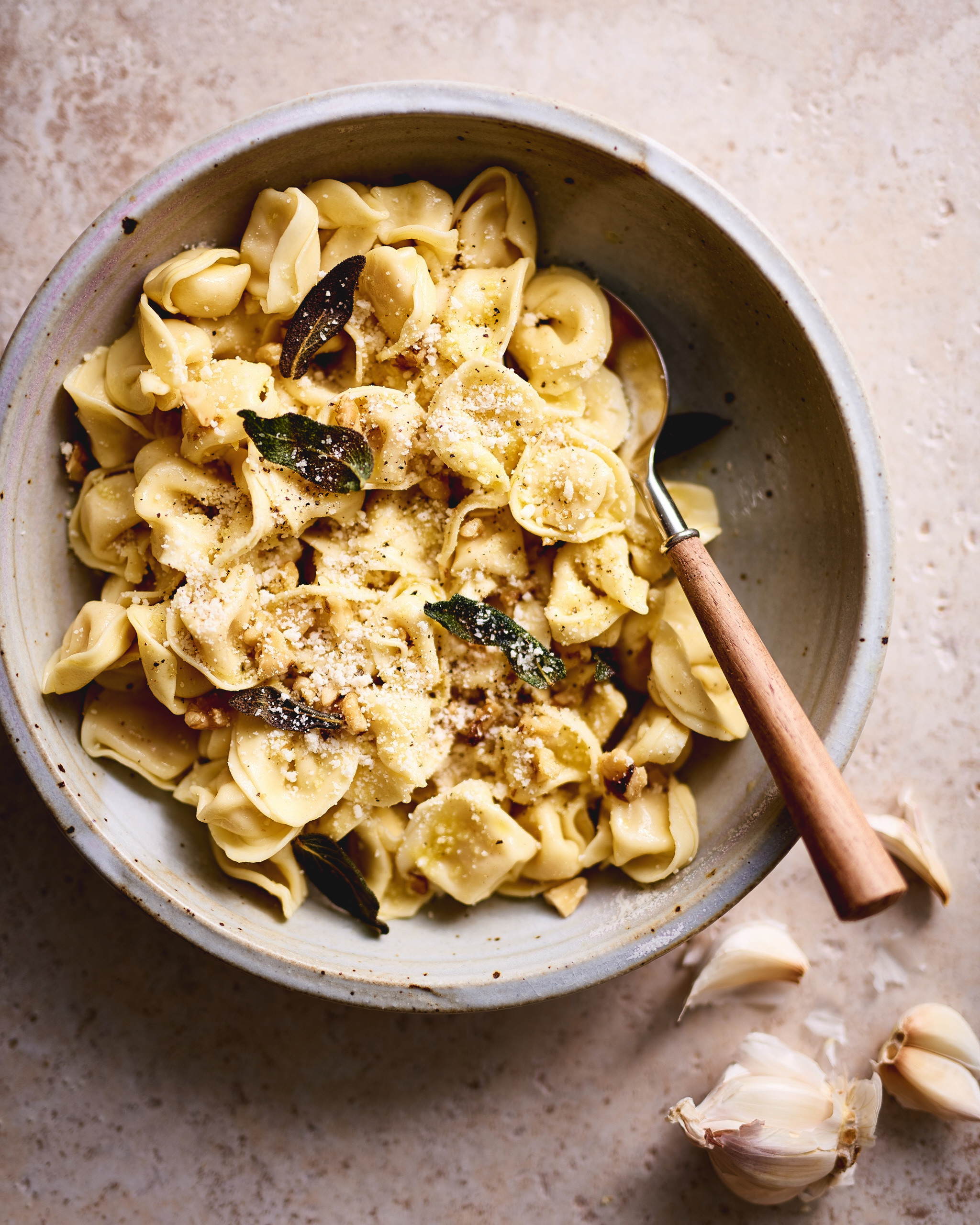 Three Cheese Tortellini w/ olive oil, parm, fried sage and walnuts, black pepper