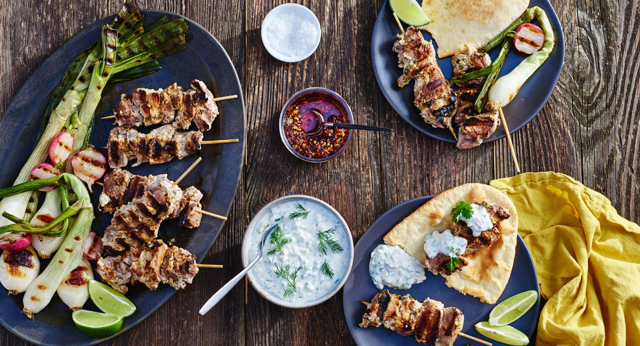 Spiced-Herbed Yogurt Lamb Kabobs with Cucumber-Dill Sauce