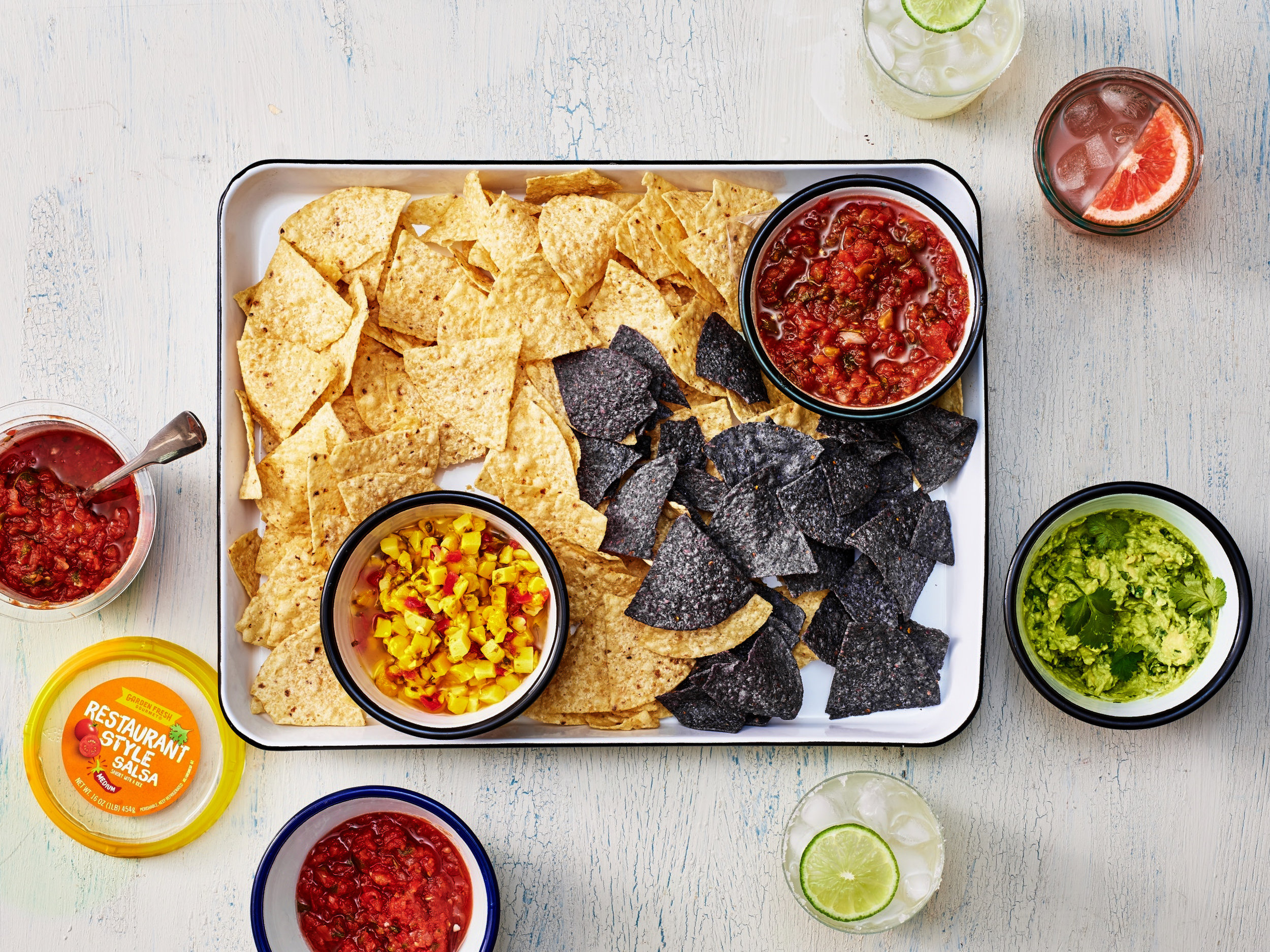 chips, salsa and guacamole
