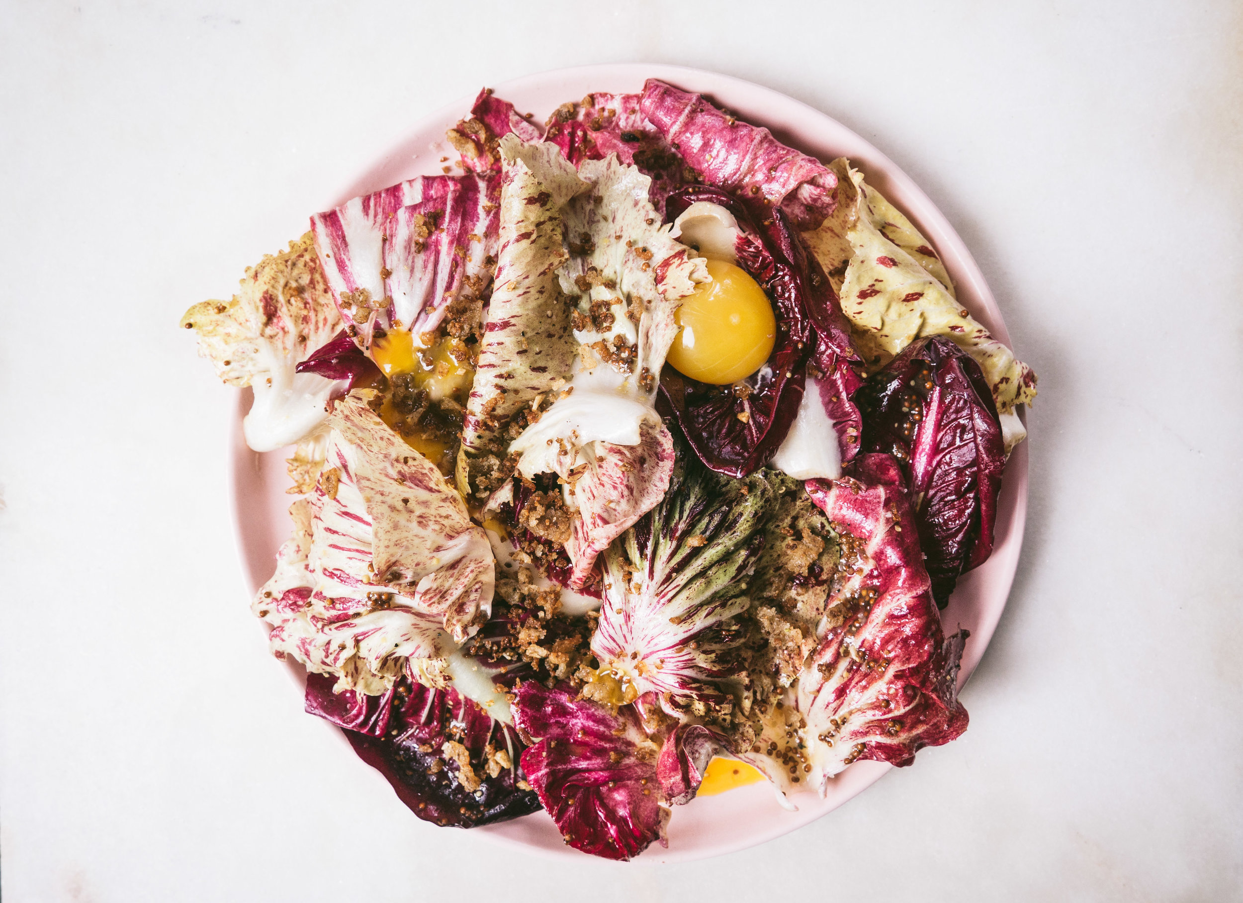 Chicories with Anchovy Bread Crumbs and Egg Yolk