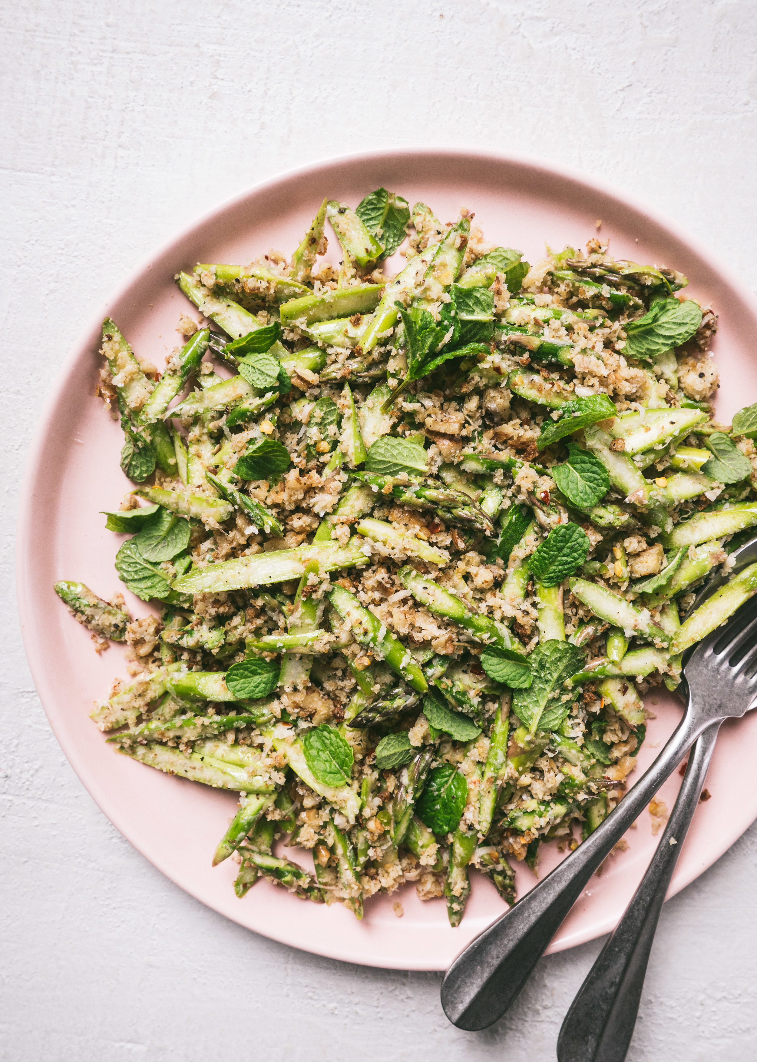 Raw Asparagus Salad with Walnuts + Bread Crumbs || Local Haven