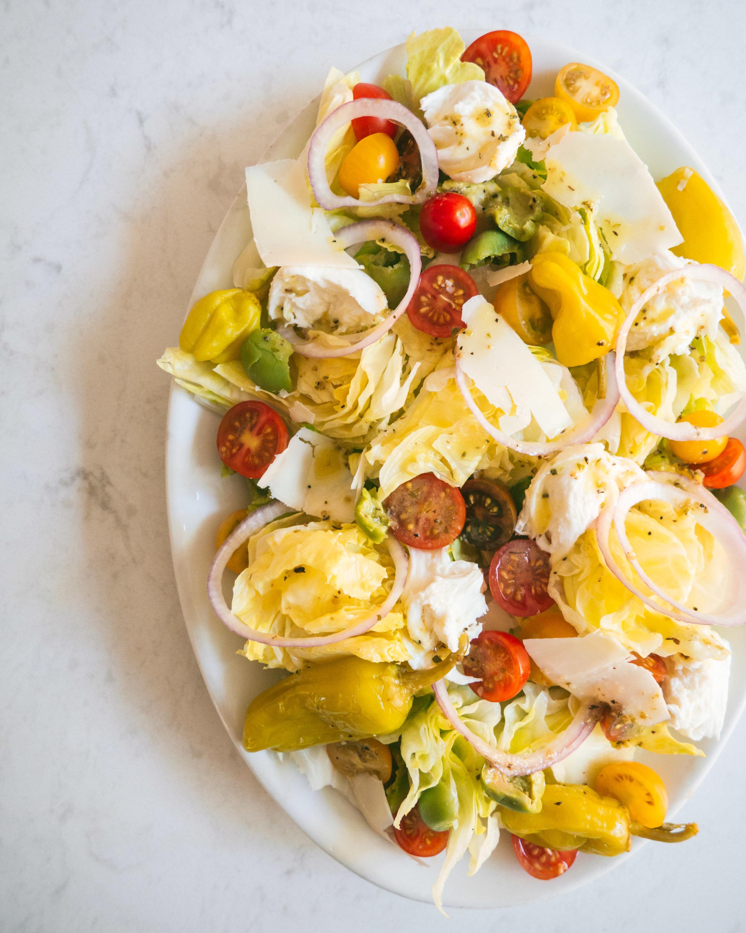 Italian Salad with Iceberg Lettuce, Tomatoes and Mozzarella