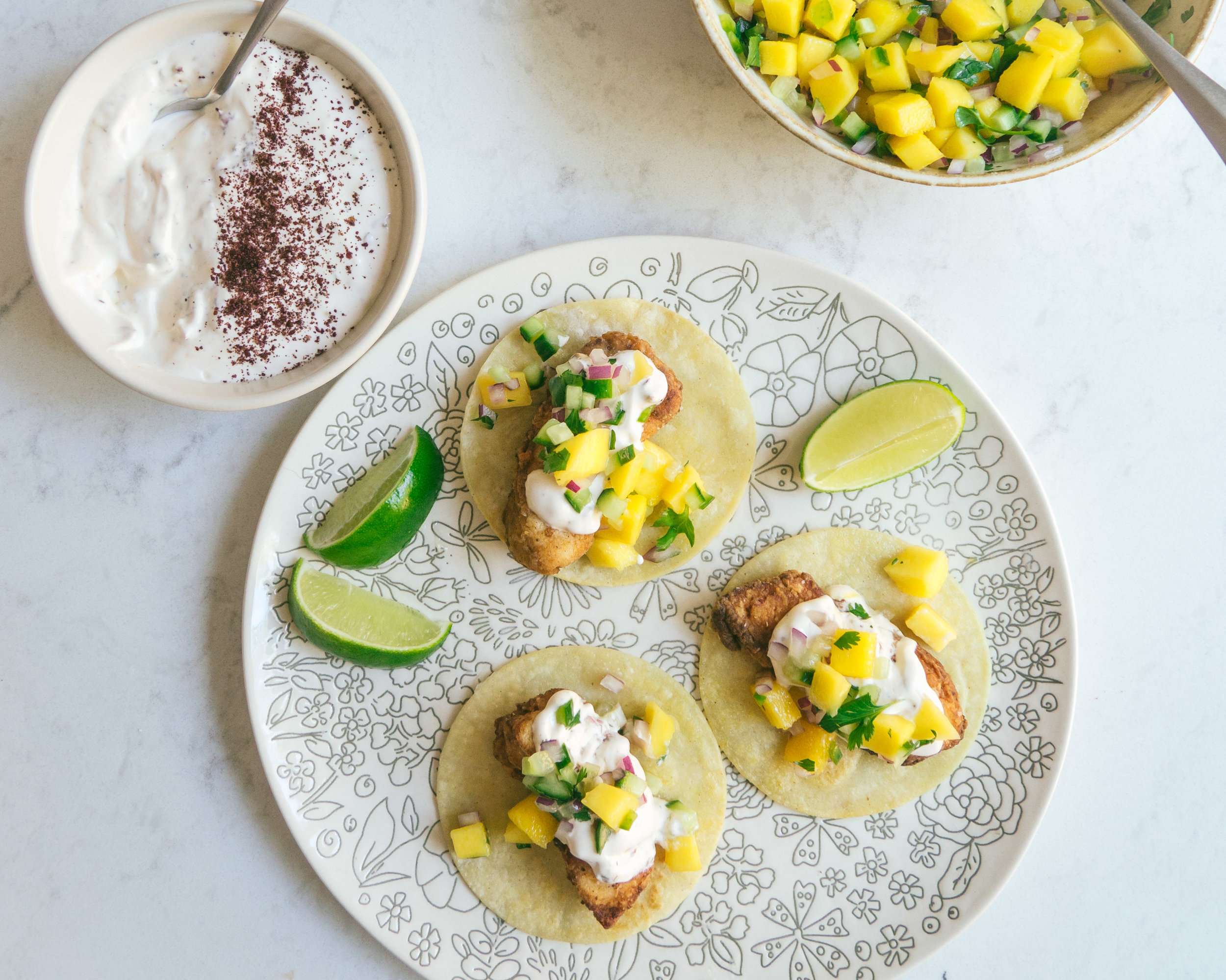 Fish Tacos with Chipotle Crema and Mango Salsa