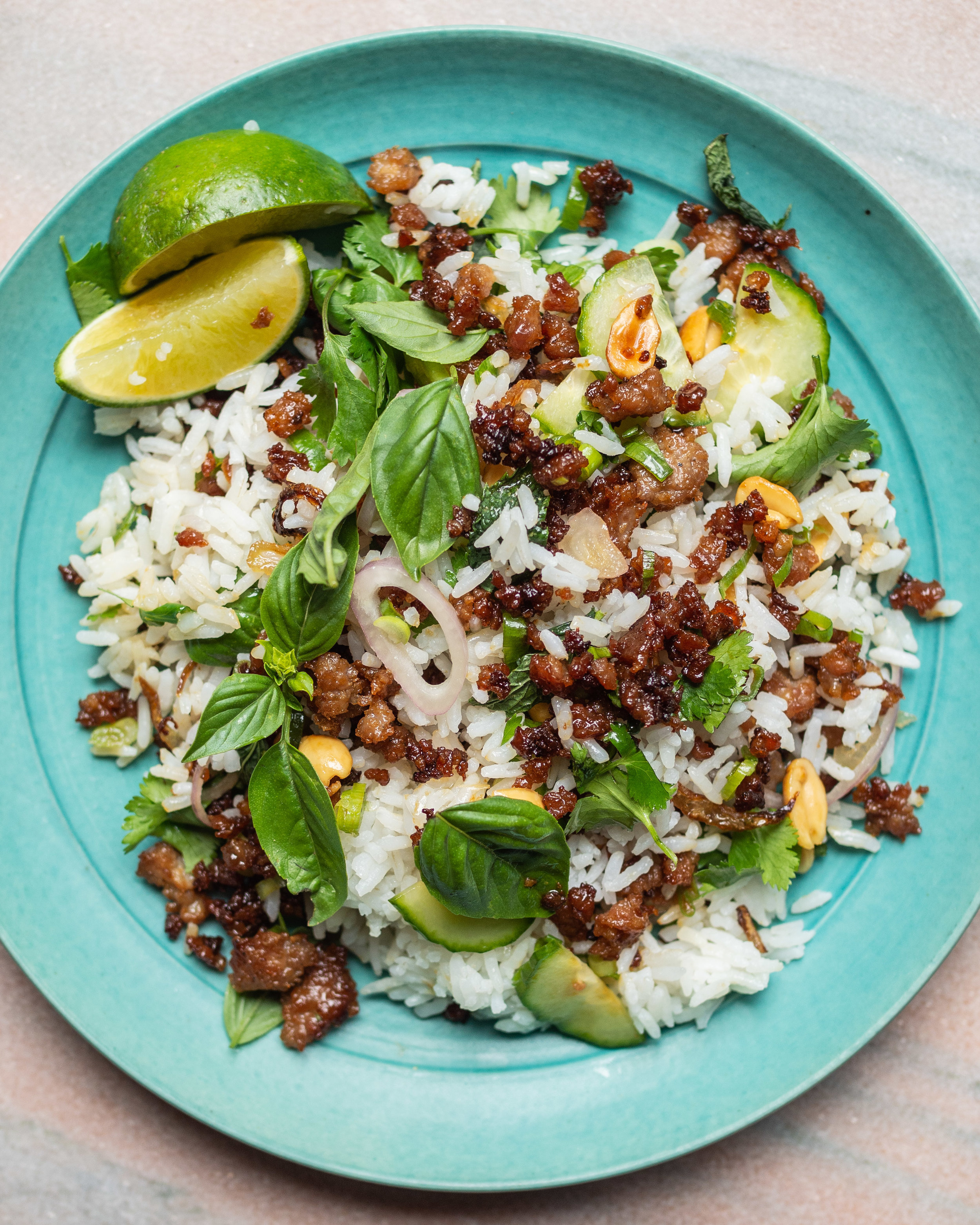 Crispy Pork Rice Salad with Fish Sauce