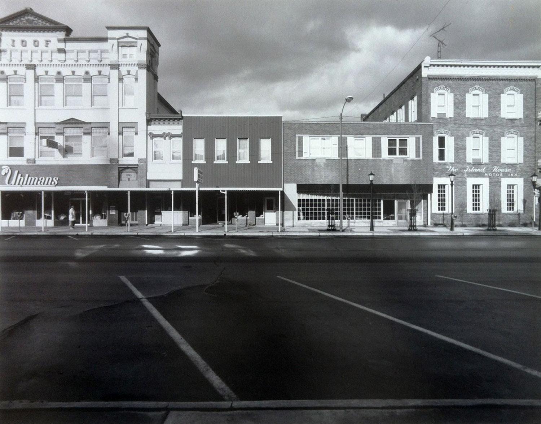 "Downtown Port Clinton, Ohio, circa 1987. 20"" x 24"" silver print."