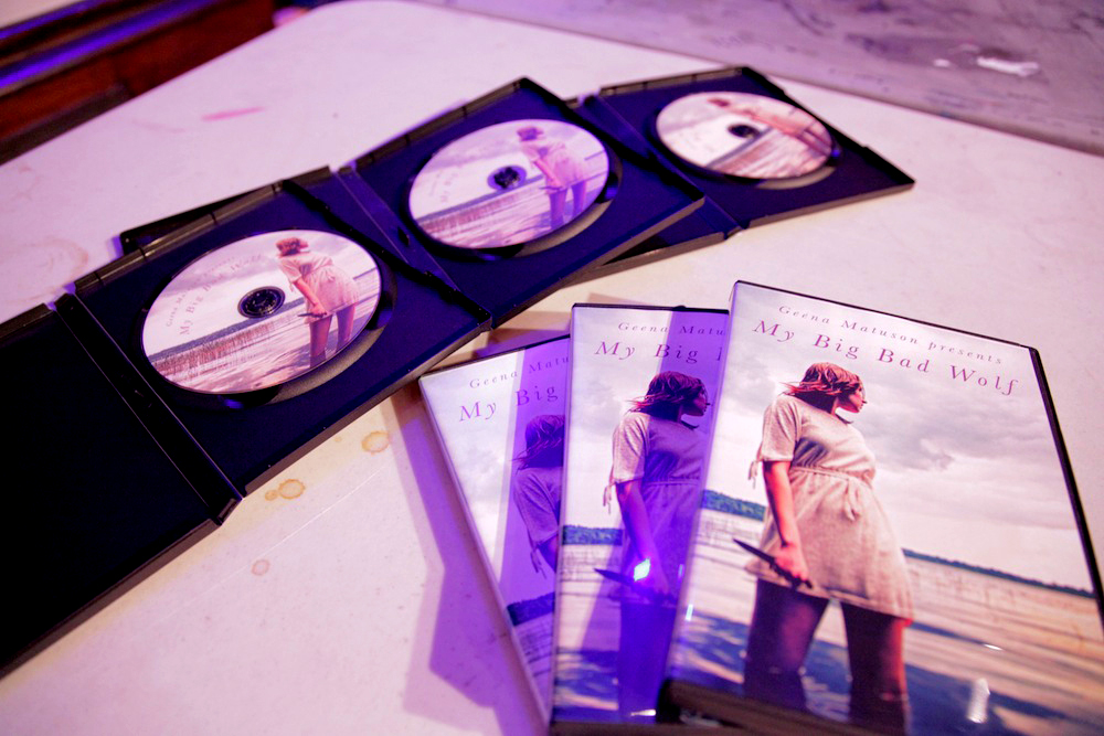 DVDs of Geena Matuson's (@geenamatuson) thesis film 'My Big Bad Wolf' available at her film premiere at Massachusetts College of Art & Design, 2013.