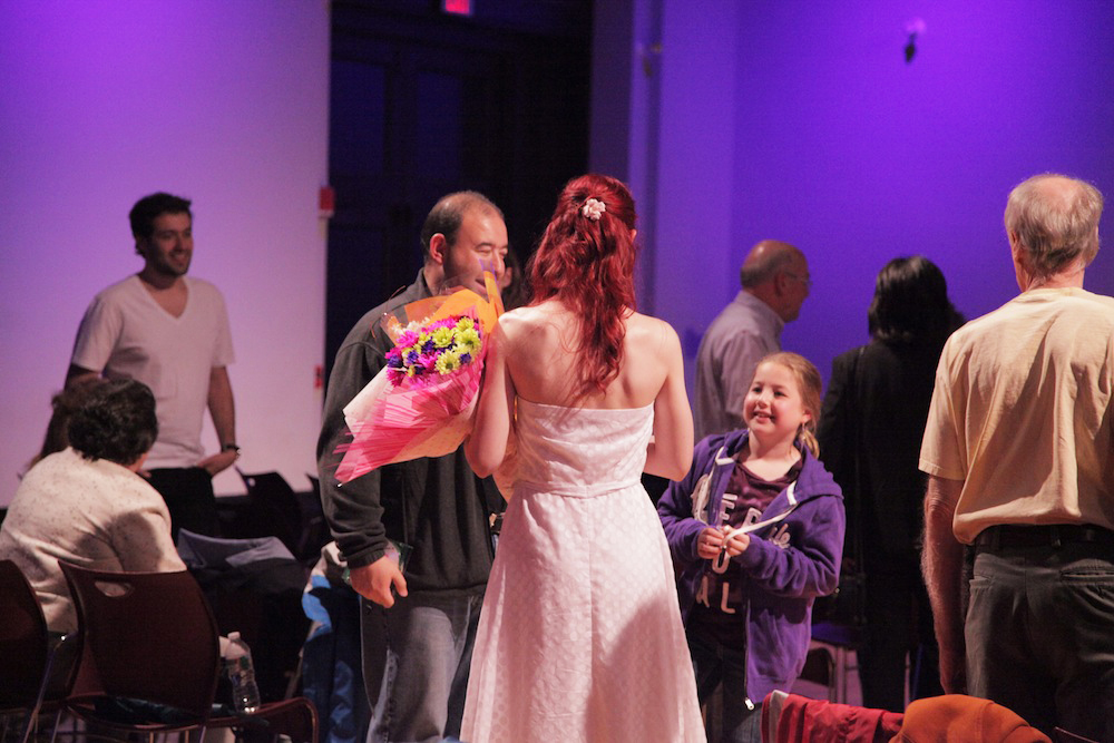 Geena Matuson (@geenamatuson) receives flowers at the premiere of her thesis film 'My Big Bad Wolf' at Massachusetts College of Art & Design, 2013.
