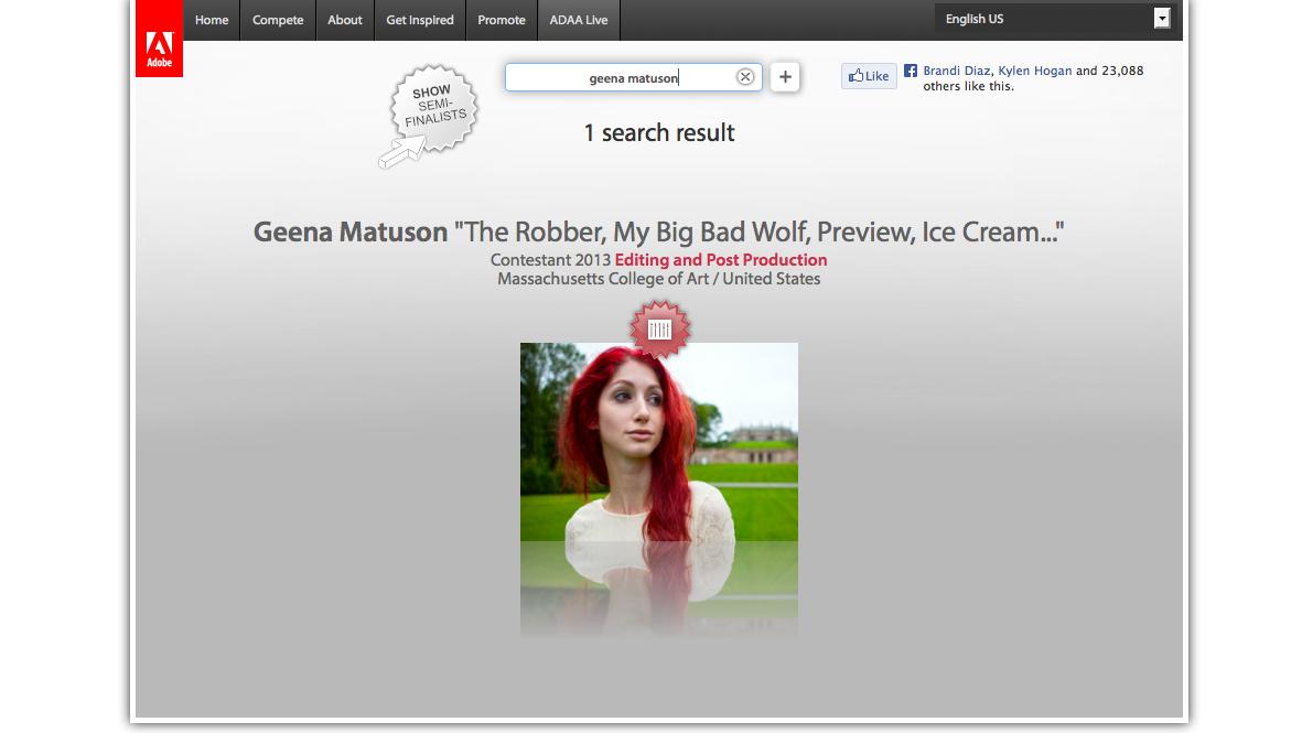 Geena Matuson (@geenamatuson) semi-finalist in 2013 Adobe Design Achievement Awards.