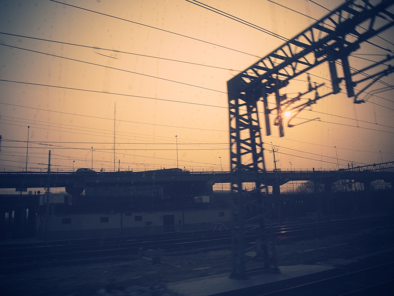 Train (To Venice  ) at Sunset  / Part of 'Trip To Italy' series by Geena Matuson @geenamatuson, 2011.