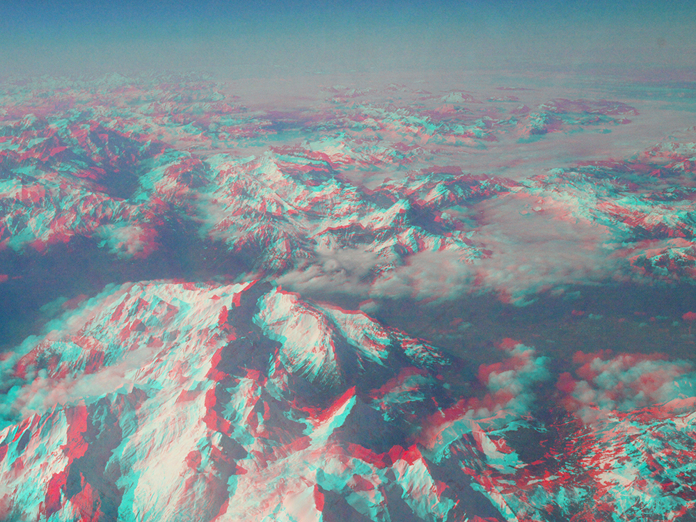 Alps In 3D  / Part of 'Trip To Italy' series by Geena Matuson @geenamatuson, 2011.