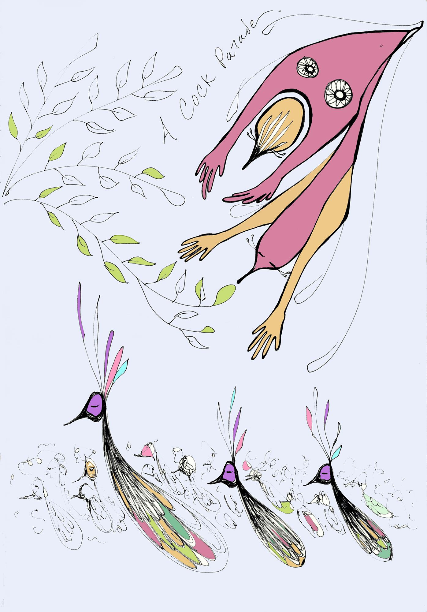 """A Cock Parade  Pen + Digital, 9 x 12"""" / Geena Matuson @geenamatuson"""