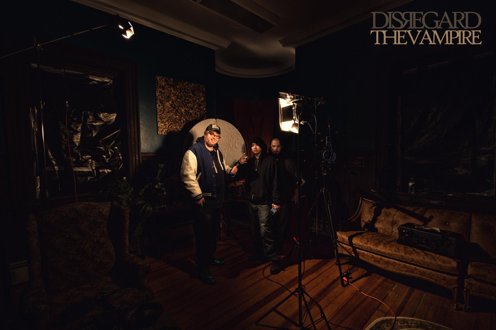 Creator Mike Messier with audio tech. CJ, and A.C. James DeMello on the set, 2014.