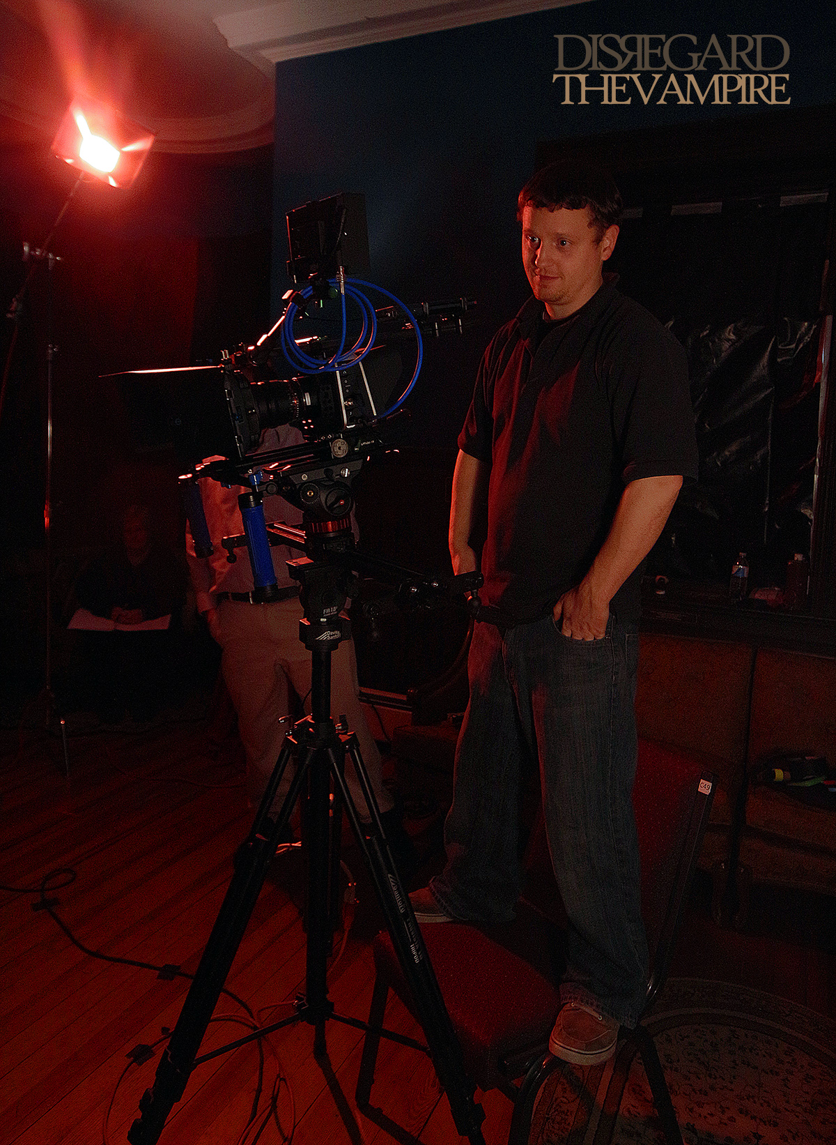 D.P./Editor Chris Hunter of Collective Thought Media, behind the camera on set, 2014.