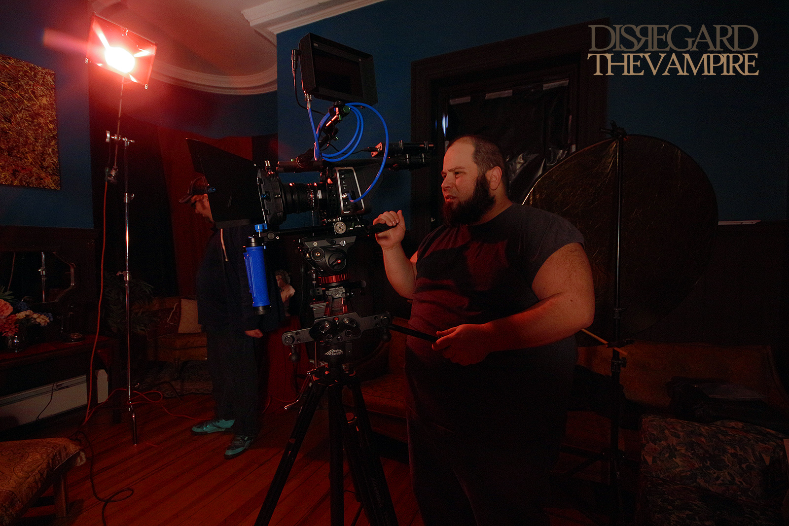 A.C. James DeMello behind the camera on set of Disregard The Vampire, 2014.