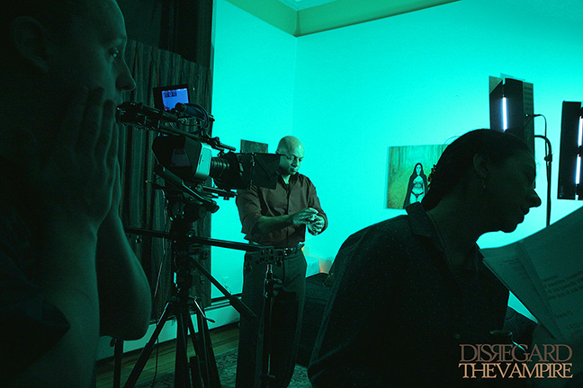 "Actor Jose Gonsalves as 'Joe' prepares for next scene in ""The Green Room."""