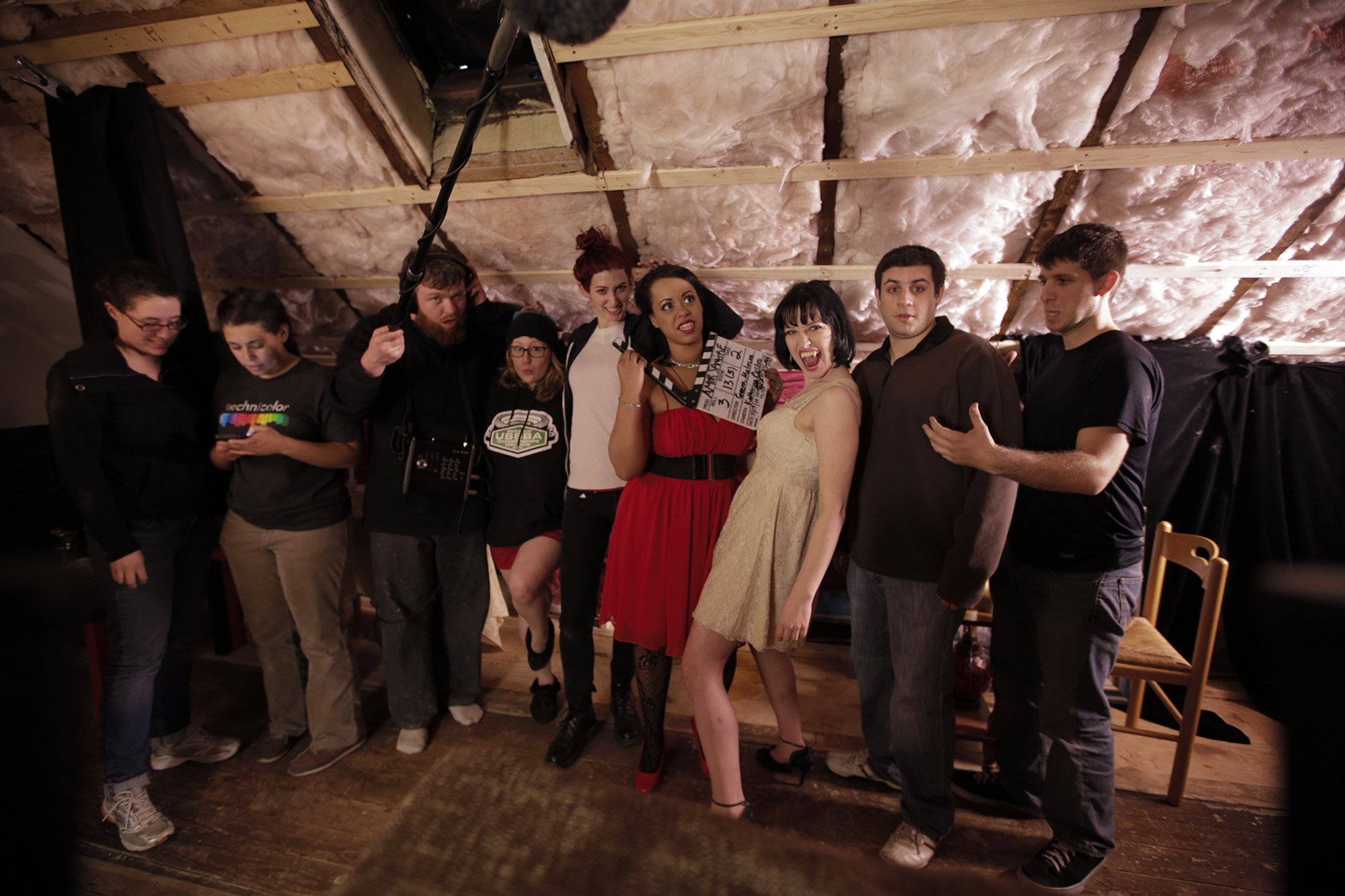 Left to right: A.C. Talia Krohmal, D.P. Katherine Castro, Joe Cooke of Angler Audio, H/MUA Katie Ciampa, Executive Producer + Director  Geena Matuson , Actor Jocelyn Padilla, Writer + Actor Lindsey Elisabeth Cork, Chris Esper, Alex Sanfilippo, 2014.
