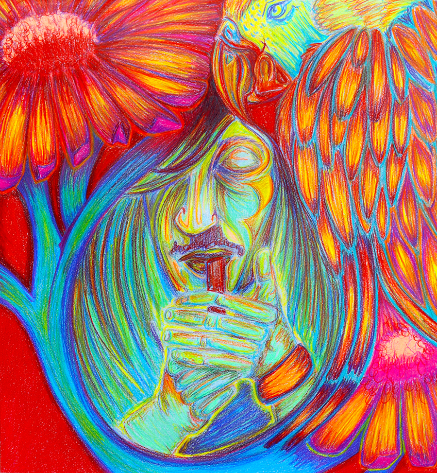 "Psychedelic Glow  17 x 18"", Colored pencil / Illustration by Geena Matuson @geenamatuson"