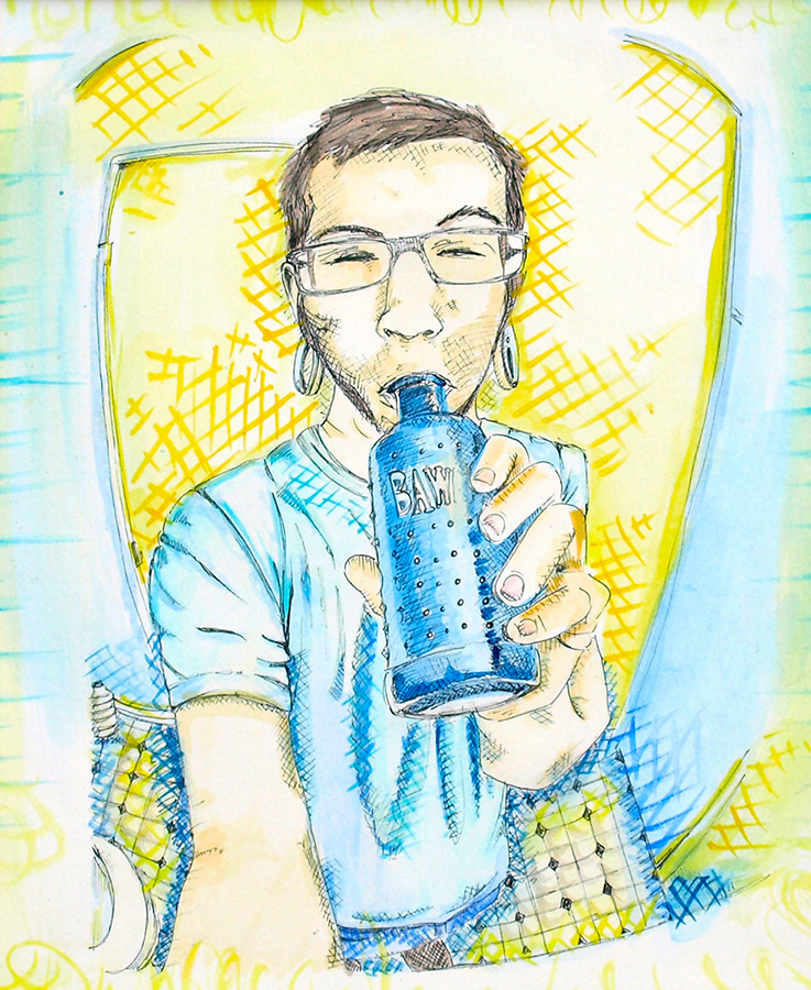 "Blue Bawls  9 x 11"", Pen + Watercolor / Illustration by Geena Matuson @geenamatuson"