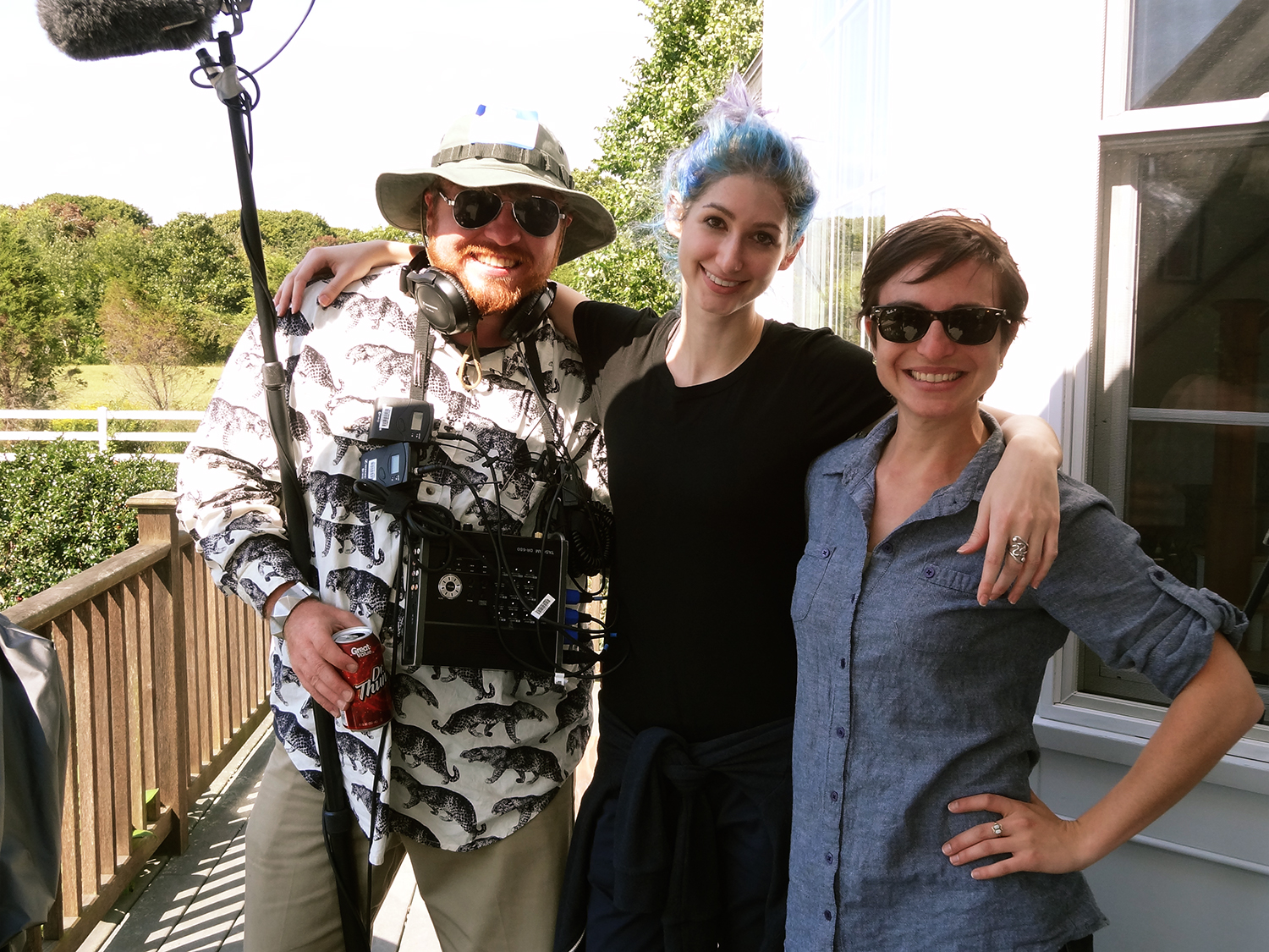 Joe Cooke of Angler Audio, Geena Matuson (@geenamatuson) and Madeleine Wisecup on set, 2014.