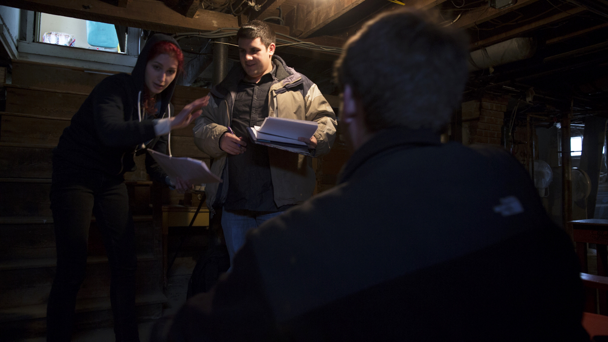 Director Geena Matuson (@geenamatuson) with Chris Esper and Alex Sanfilippo, going over blocking and scene setup, 2014.