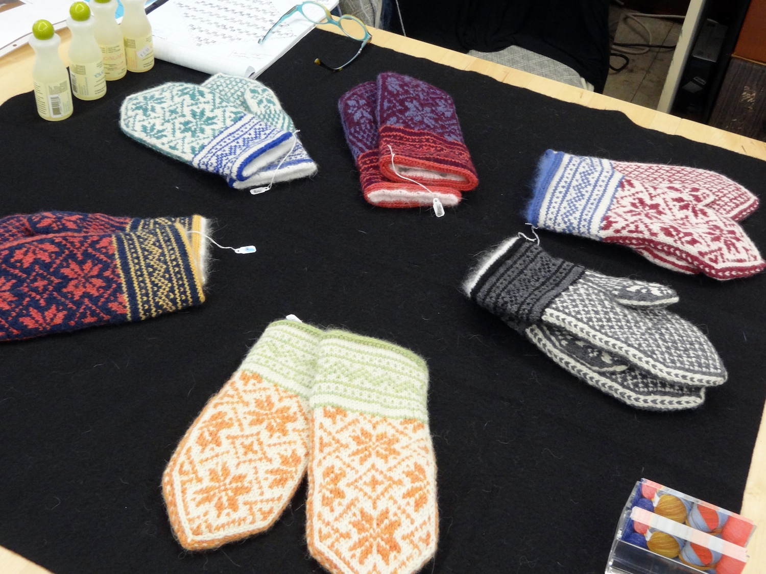Knitted mittens by artist and knitter Dee Cohen, 2014.