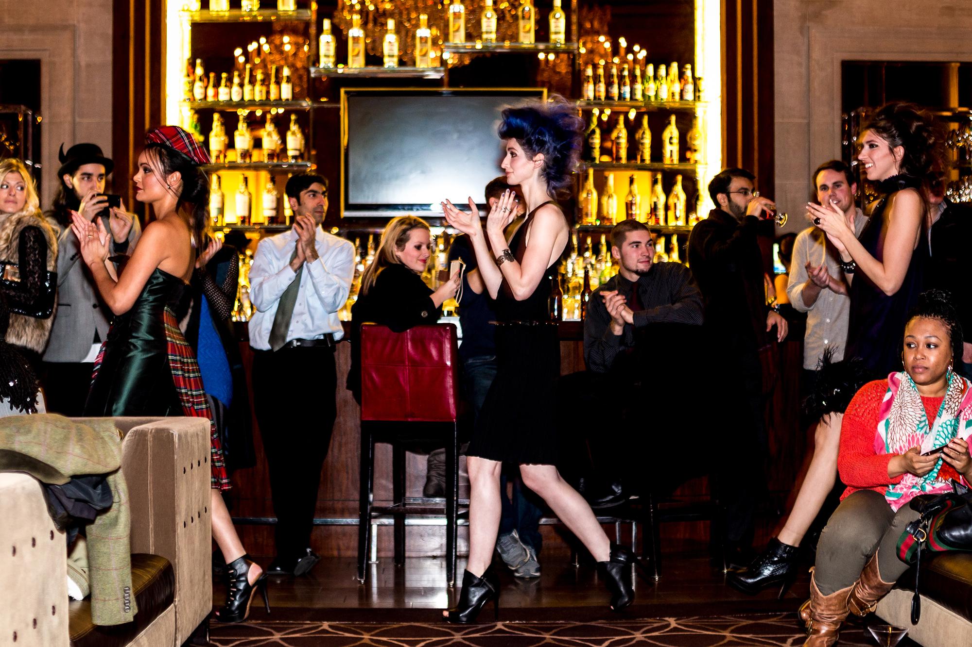 Models Renee Gadsden, Geena Matuson (@geenamatuson) and Renée Ricciardi wear Chynna Pope at fashion show. Image by CDA Media.