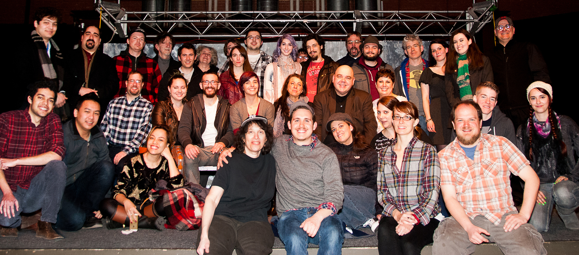 Group shot of Massachusetts-based filmmakers, actors and creatives gathering at social event hosted by Boston Indie Mafia, Inc., March 2015. Photo by Light Filters Studio.