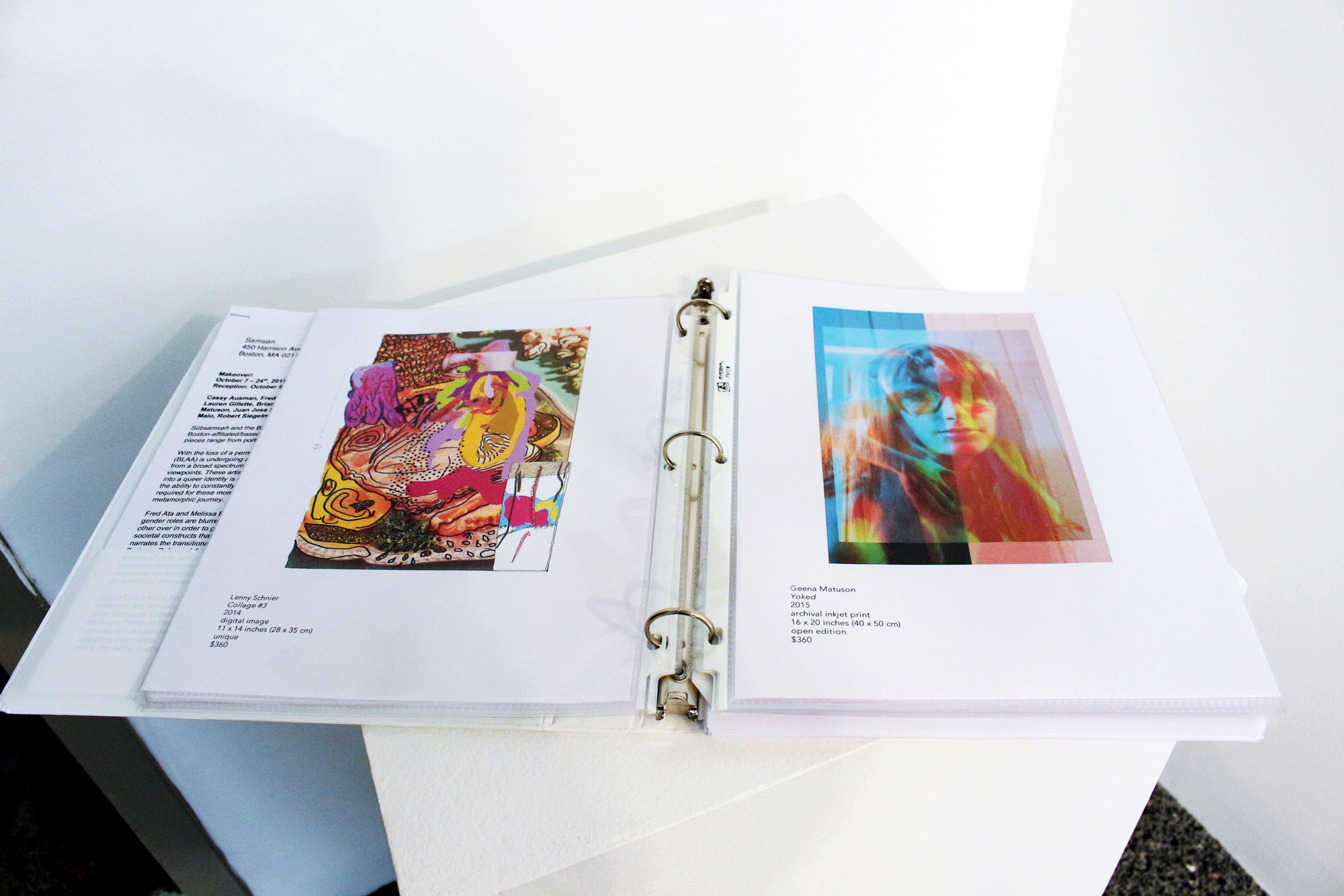 BLAA x Subsamson Makeover! show portfolio, featuring works of (left) Lenny Schnier and (right) Geena Matuson.