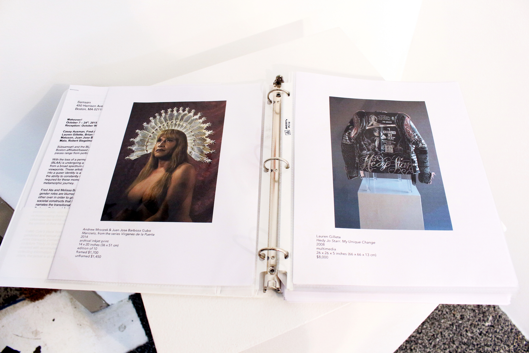 BLAA x Subsamson Makeover! show portfolio, featuring works of (left) Andrew Mroczek and Juan Jose Barboza Gubo, and (right) Lauren Gillette.