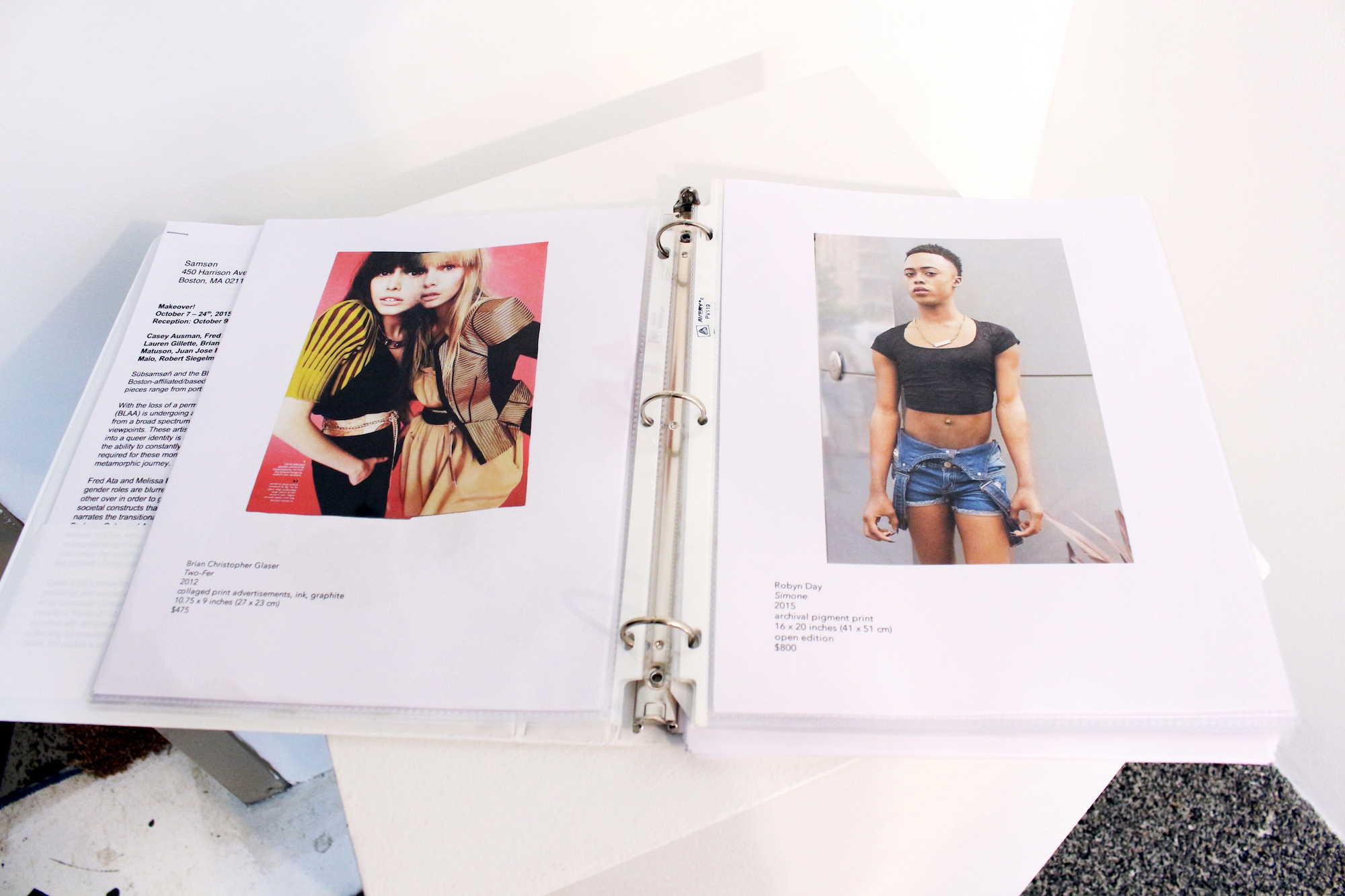 BLAA x Subsamson Makeover! show portfolio, featuring works of (left) Brian Christopher Glaser and (right) Robyn Day.