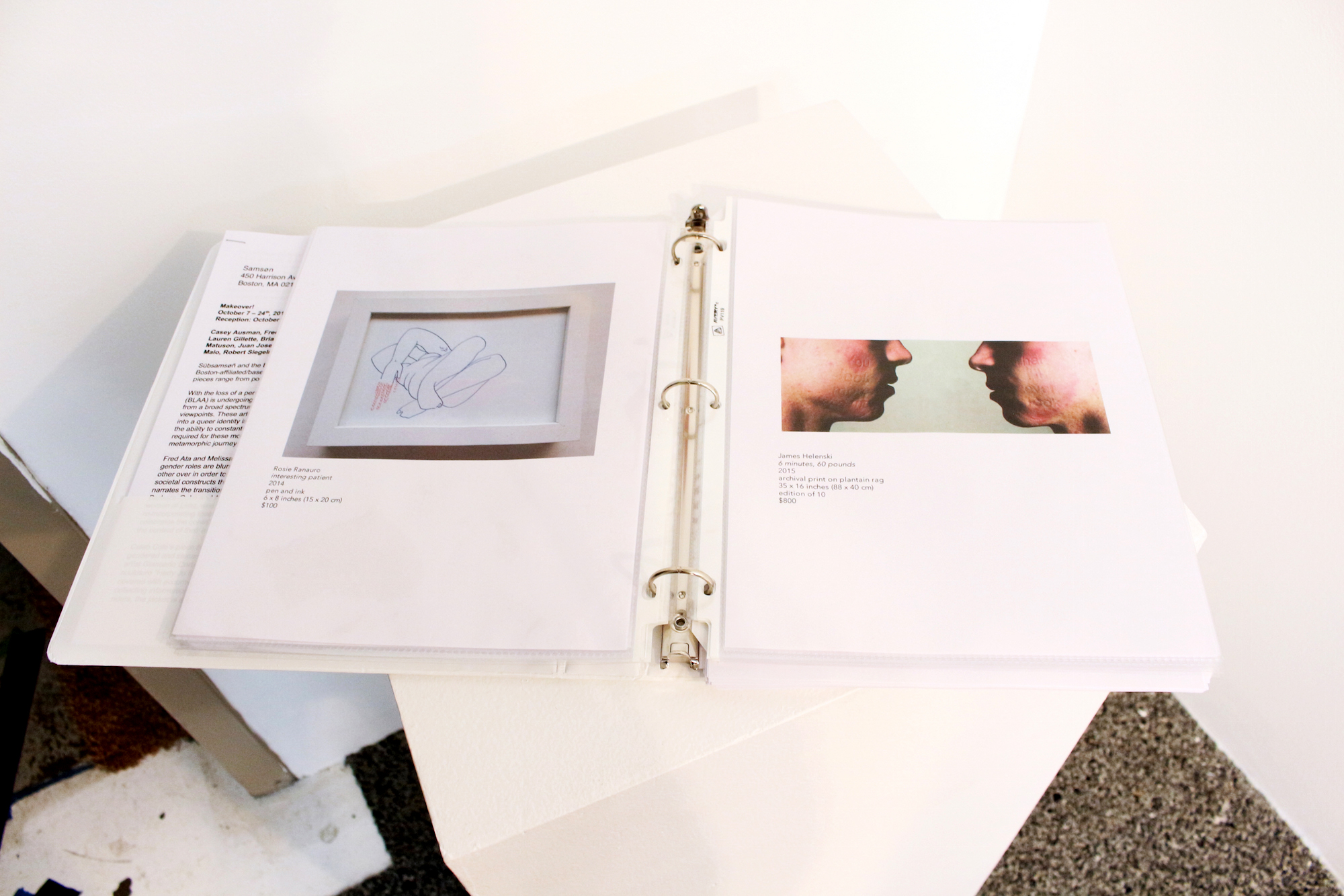 BLAA x Subsamson Makeover! show portfolio, featuring works of (left) Rosie Ranauro and (right) James Helenski.