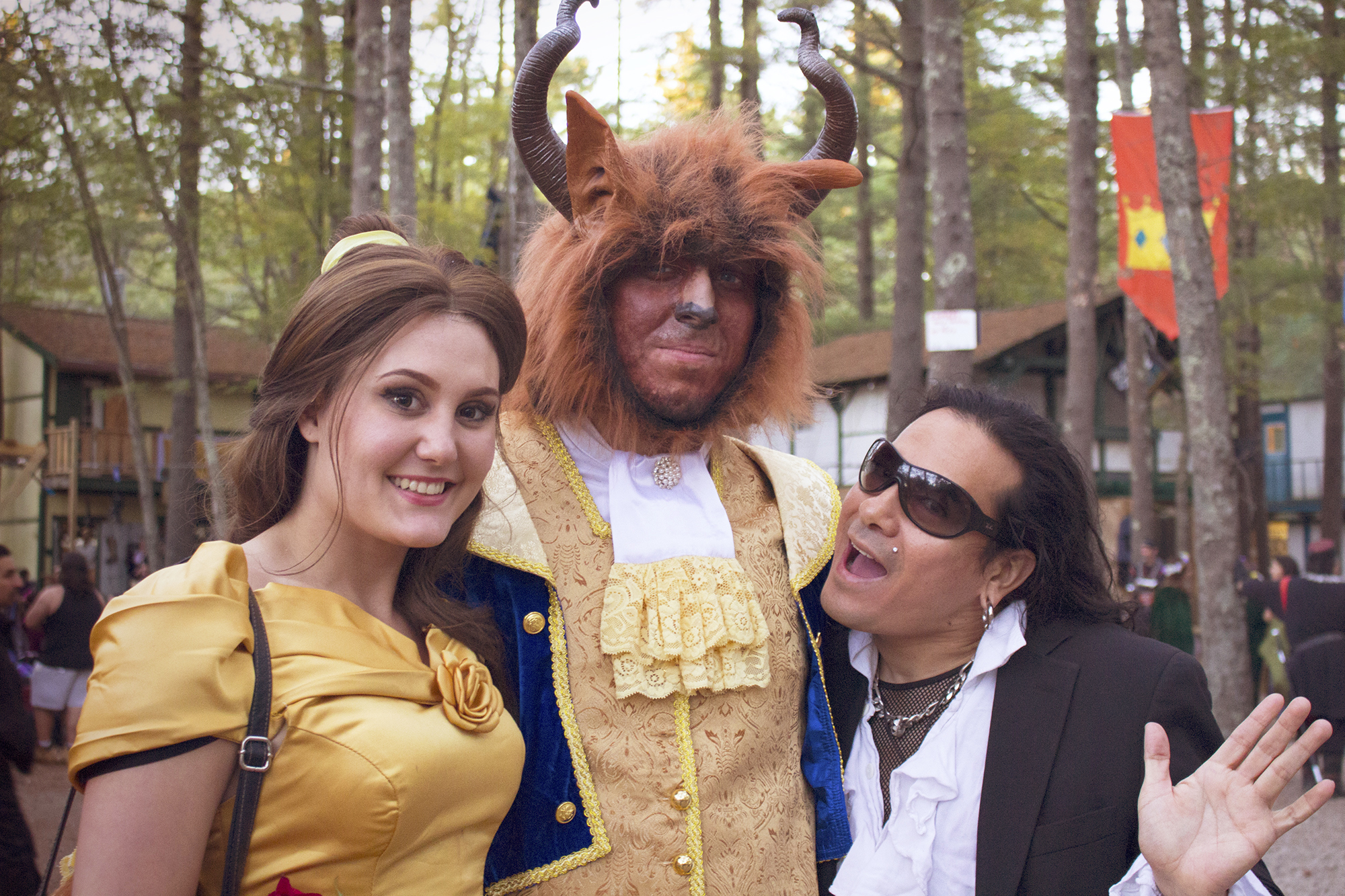 Geena Matuson and Victor Escajadillo with Beauty and the Beast at King Richard's Faire in Carver MA, October 2015.