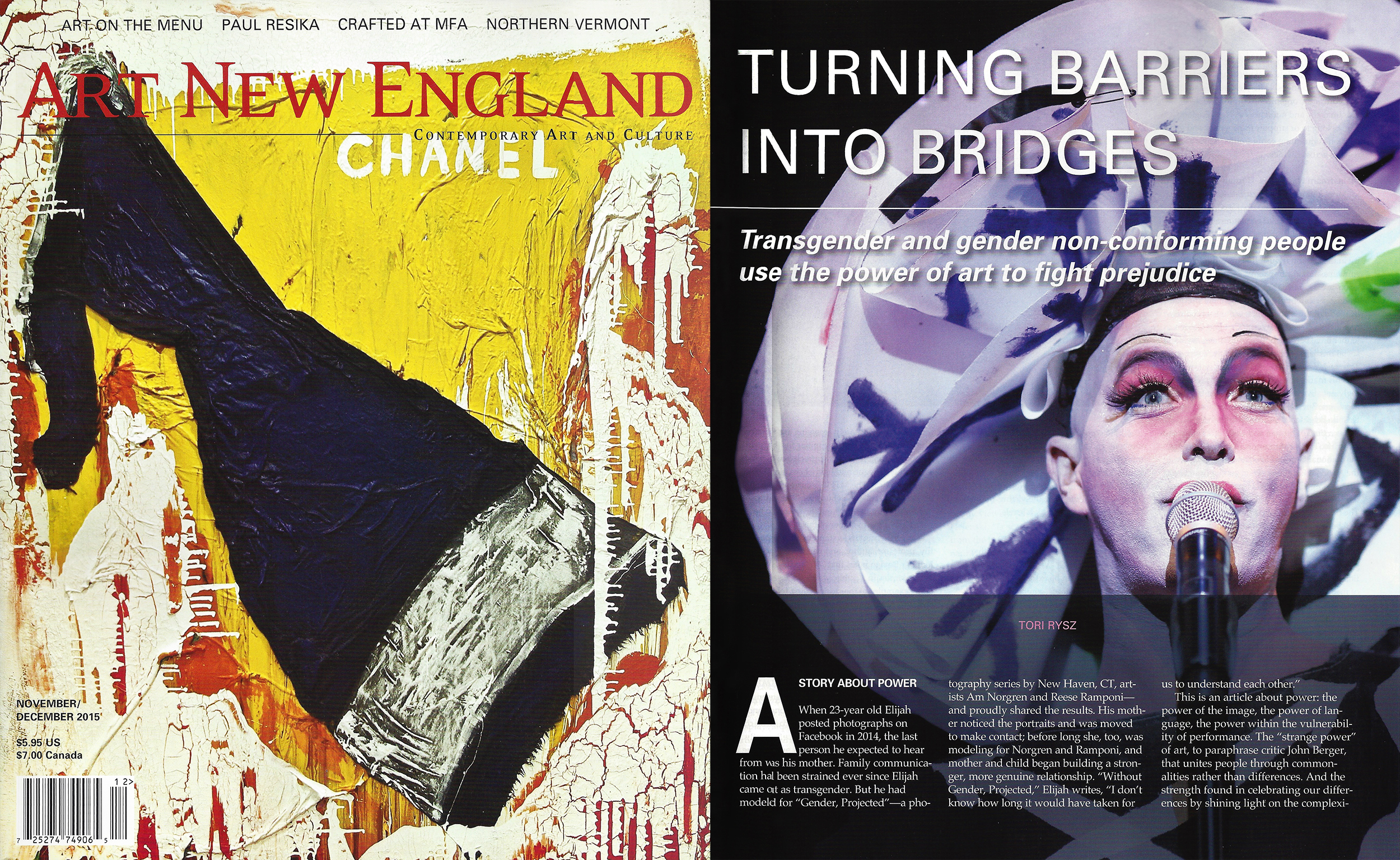 Art New England Magazine Nov/Dec 2015 issue, cover and featured article 'Turning Barriers into Bridges' by Tori Rysz, page 31.