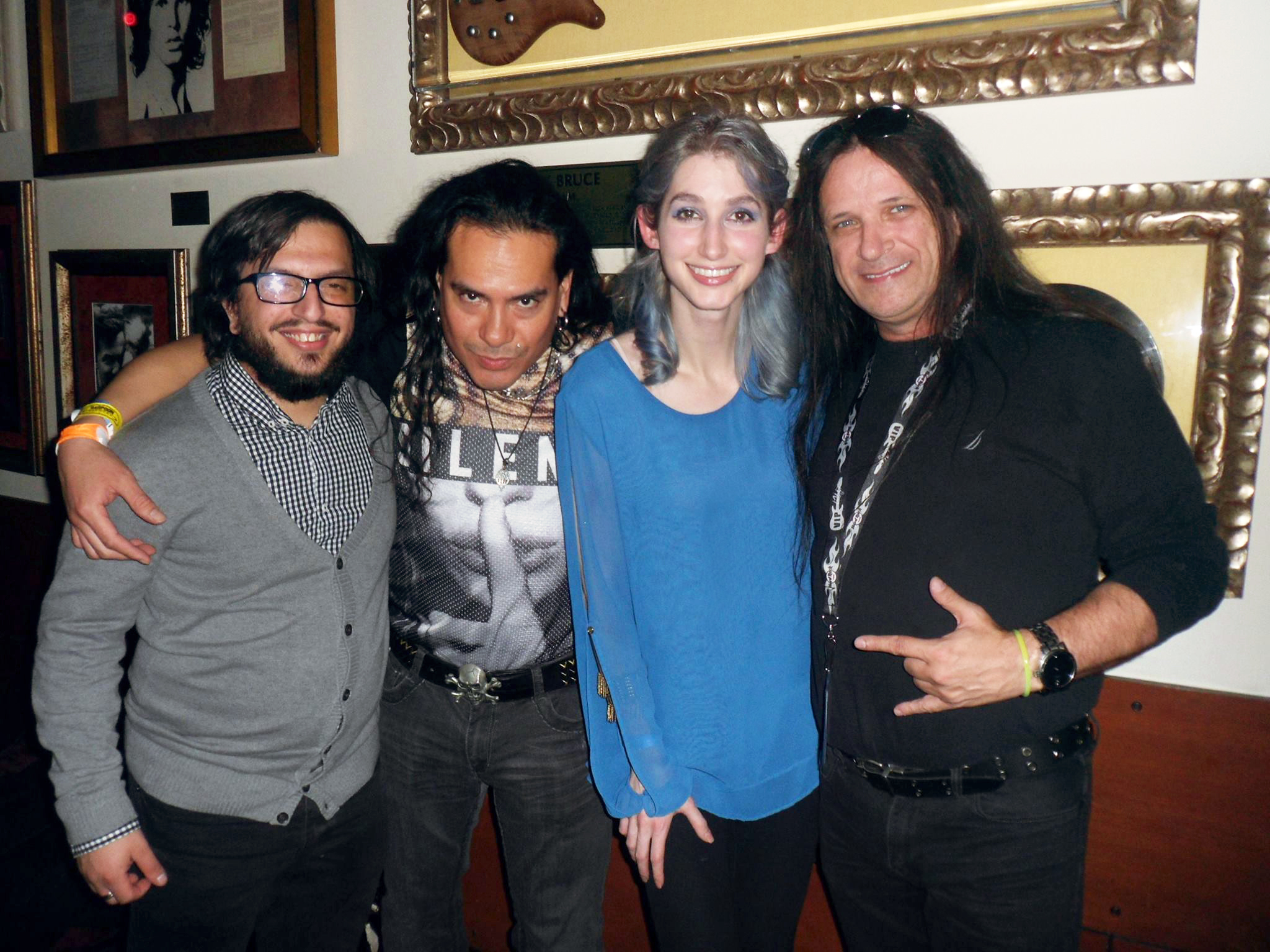 Musician Joe Musacchia, DJ Kuro and Geena Matuson with Gerg Anidem of Indie Scene Radio at Hard Rock Cafe in Boston, 2015.