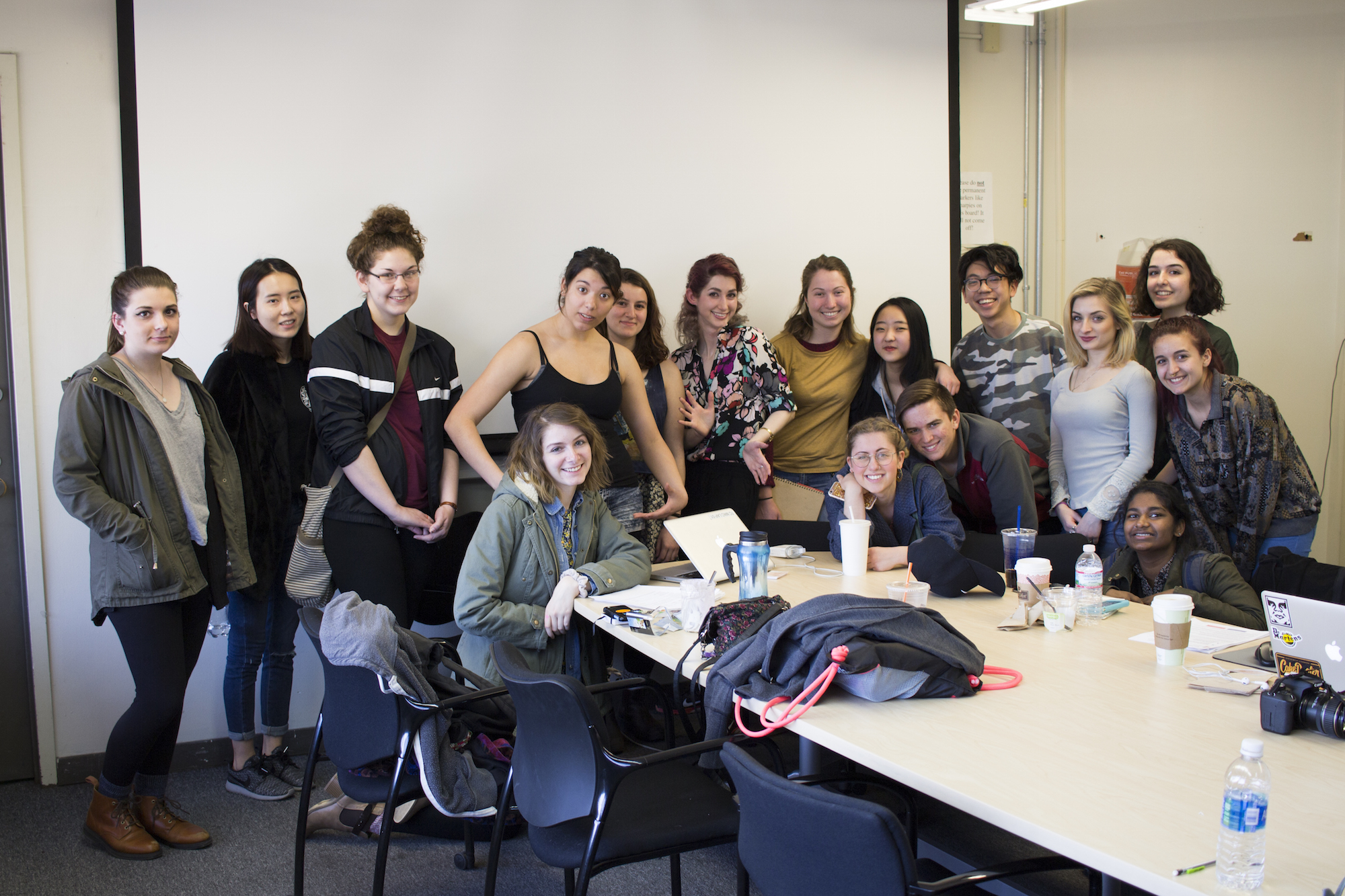 Geena Matuson (center) as guest lecturer with Max Grinnell at MassArt, April 2016.