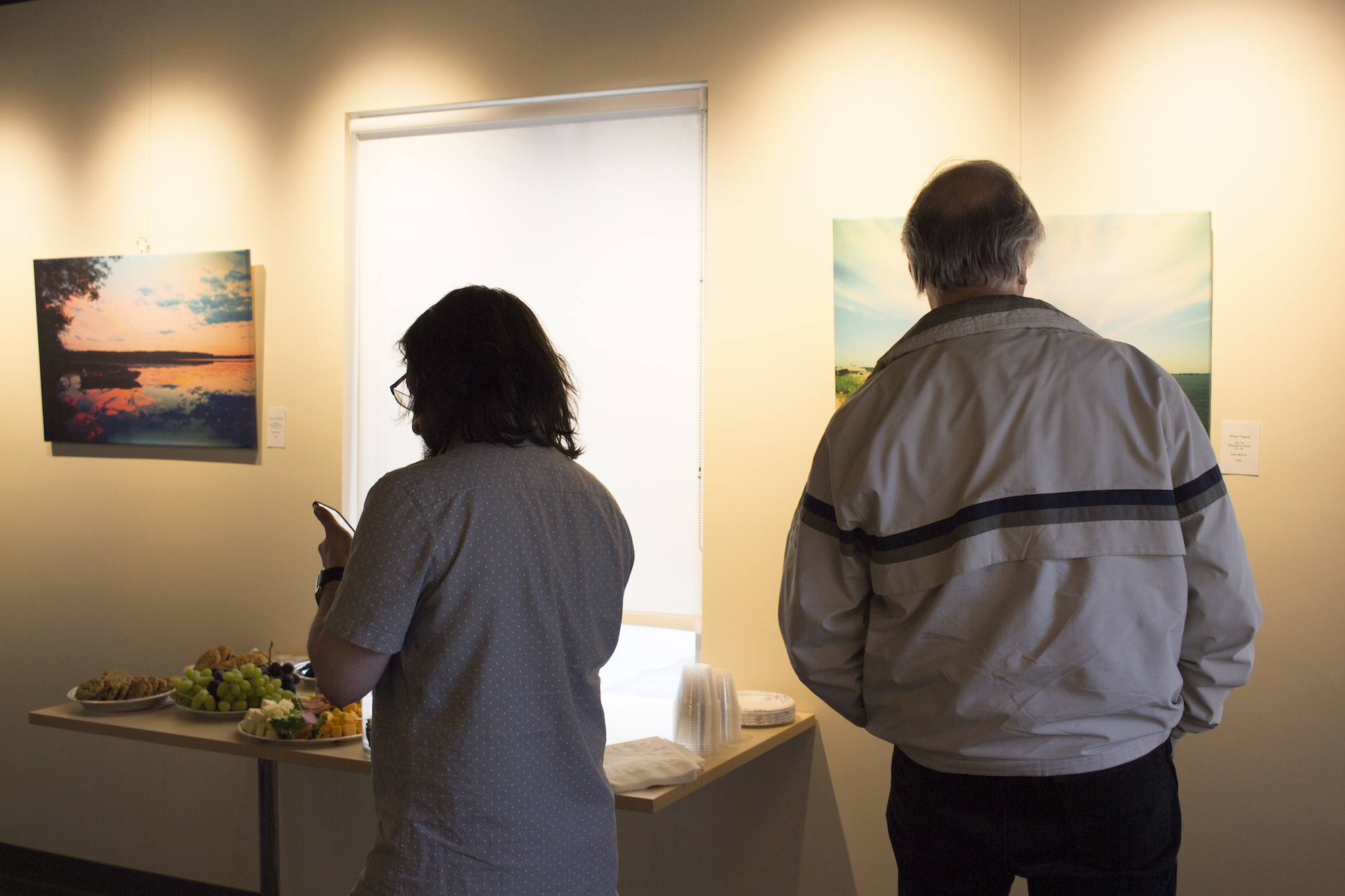 Geena Matuson's solo show reception at Medfield TV. April, 2016.