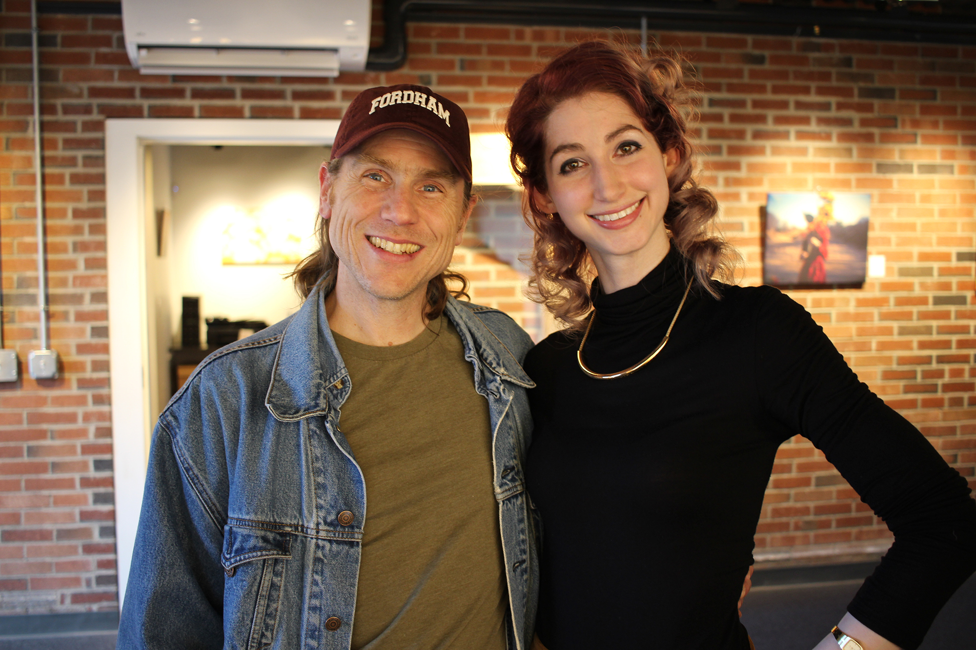 Tom Duprey with Geena Matuson at her solo show reception at Medfield TV. April, 2016.