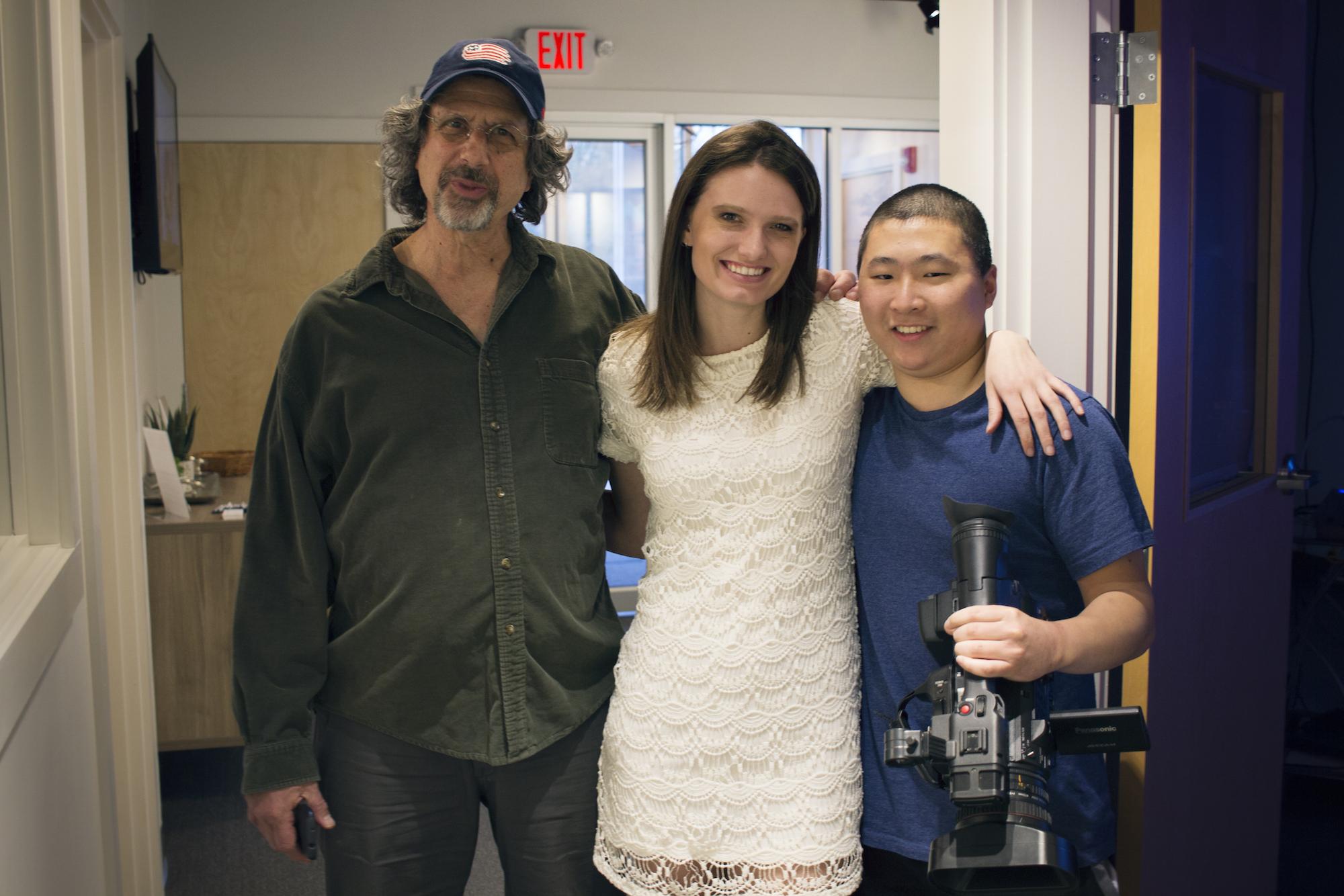 Chuck Ferullo, Alex and Sam at Geena Matuson's solo show reception at Medfield TV. April, 2016.