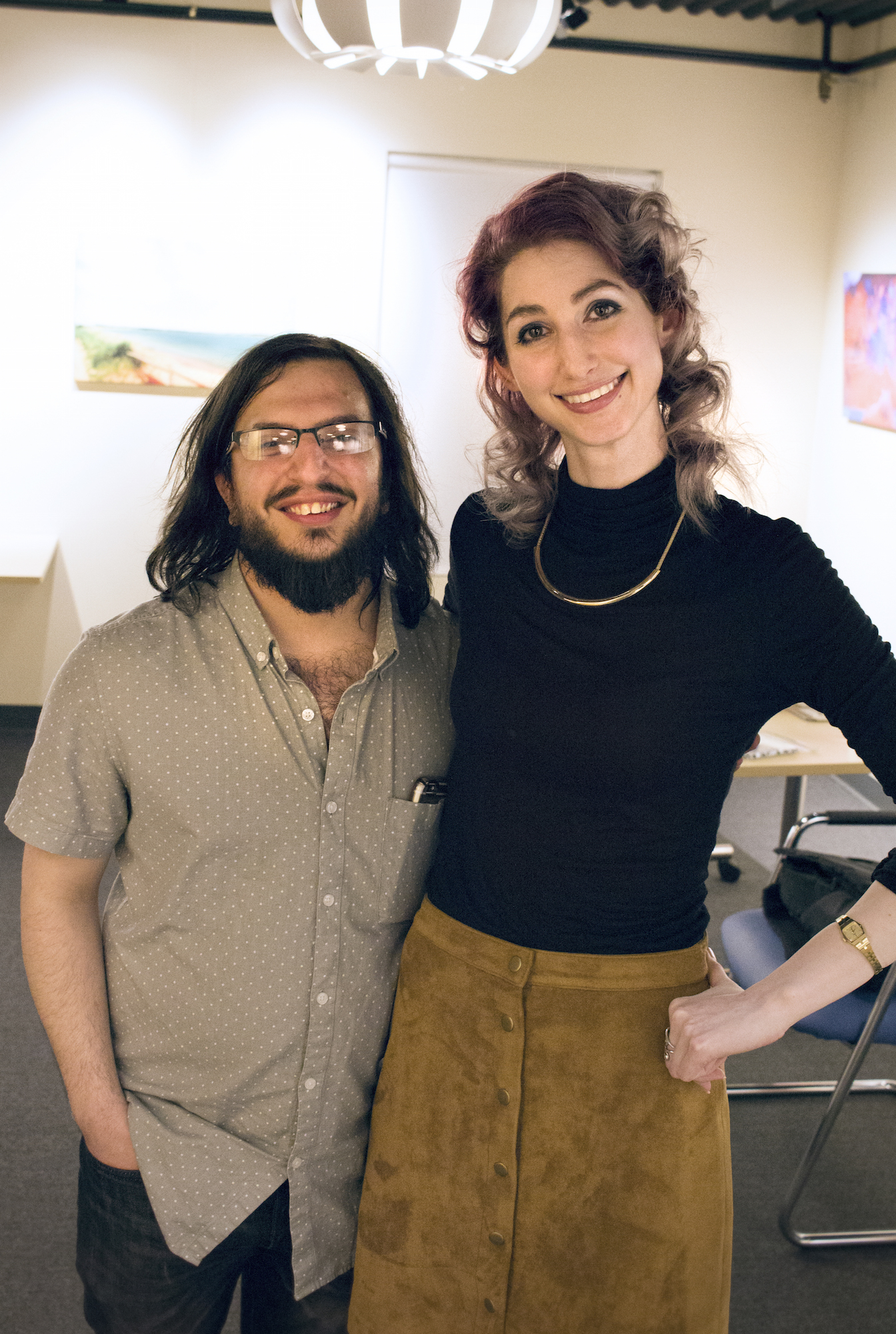 Joe Musacchia with Geena Matuson at her solo show reception at Medfield TV. April, 2016.