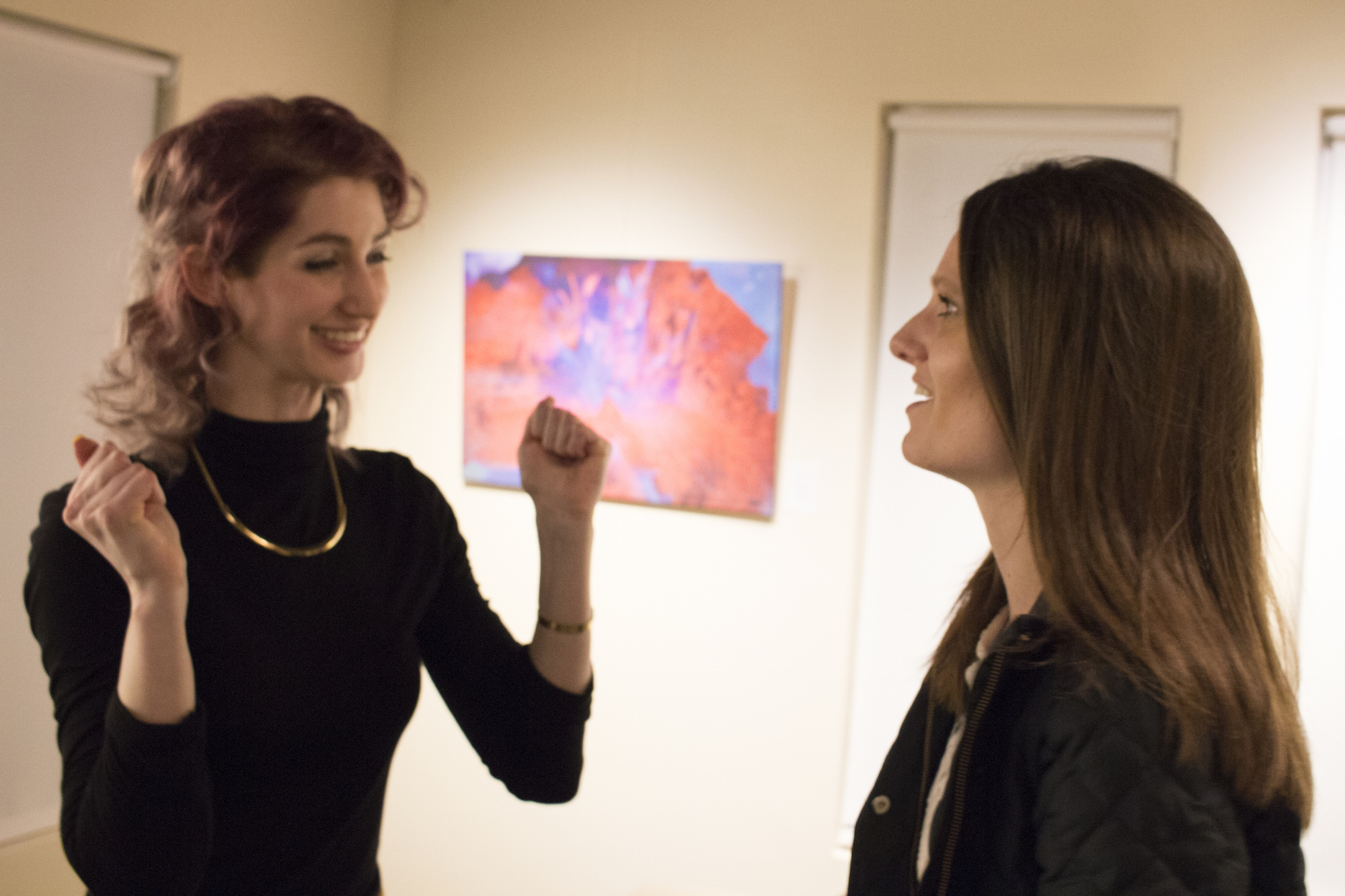 Excitement at Geena Matuson's solo show reception at Medfield TV. April, 2016.