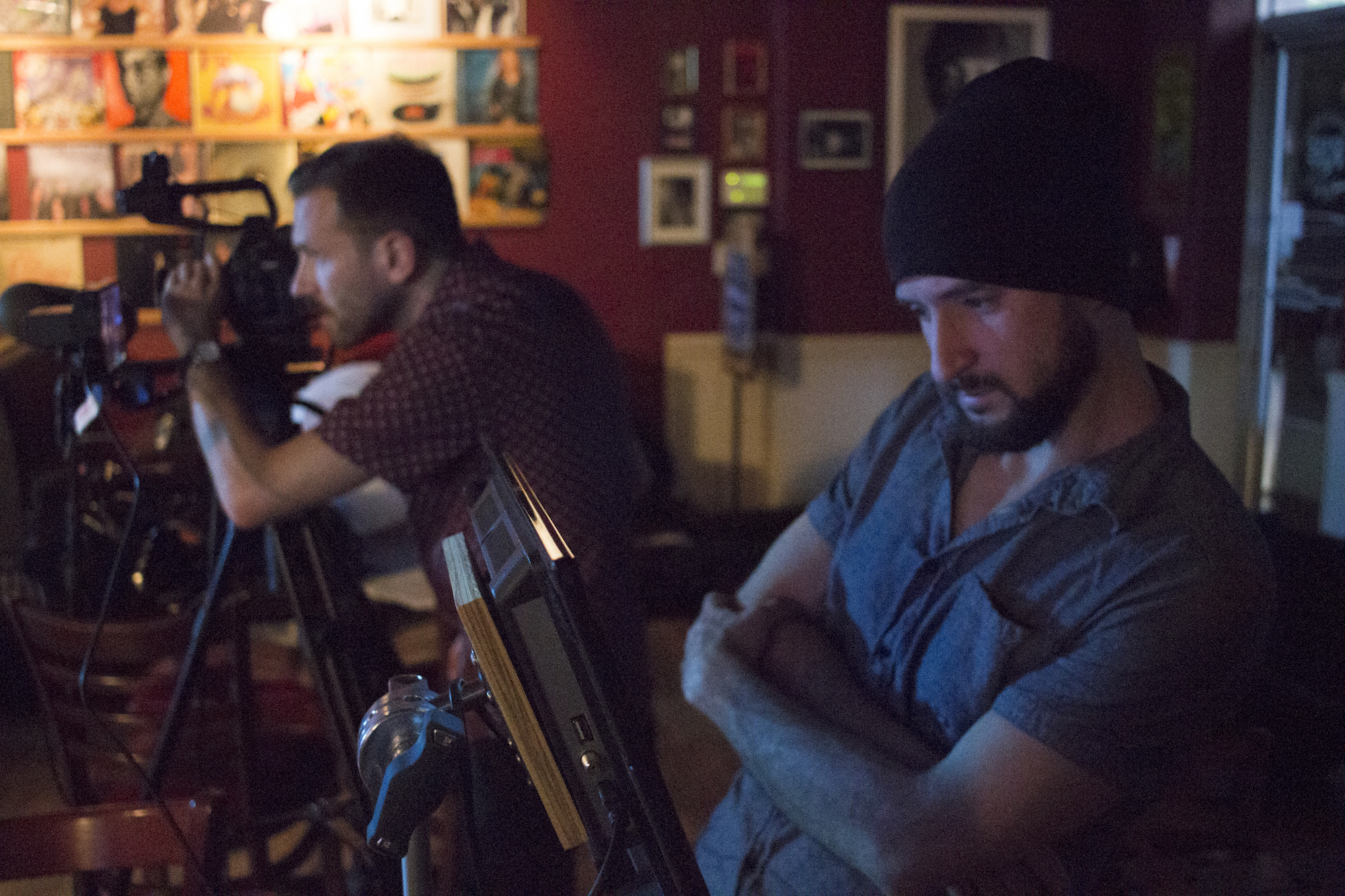 Director of Photography Denez McAdoo and Assistant Camera Dylan Kiely on the set of Geena Matuson's production of 'Fauxmercials' bar ads, September 2016.