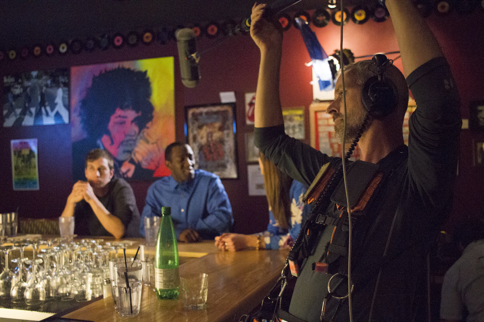 Actors Chris Fisher and Jamaal Eversley with Audio Djim Reynolds on the set of Geena Matuson's production of 'Fauxmercials' bar ads, September 2016.