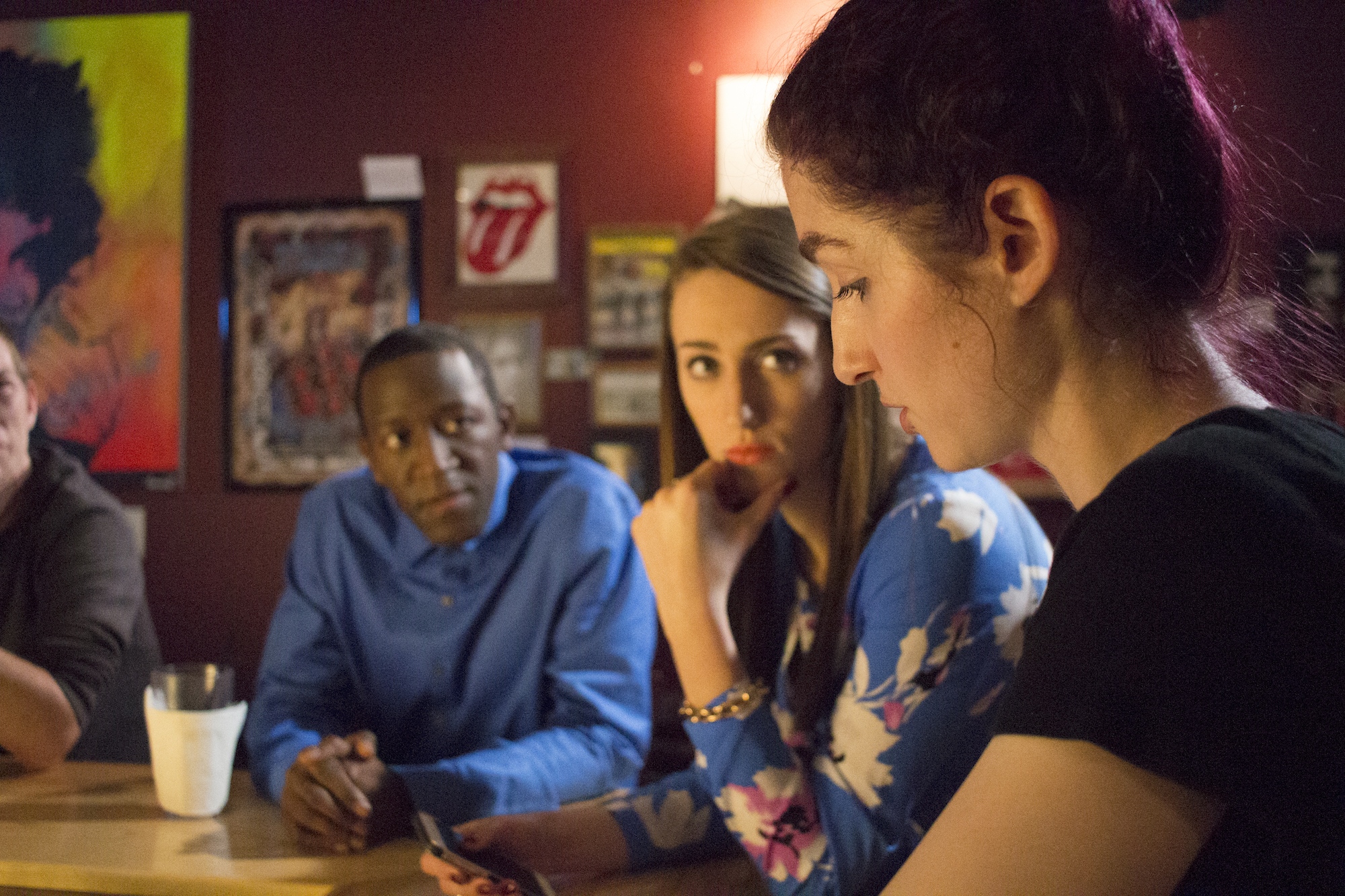 Actors Jamaal Eversley and Samantha Webb with Writer, Producer/Director Geena Matuson on the set of her production of 'Fauxmercials' bar ads, September 2016.