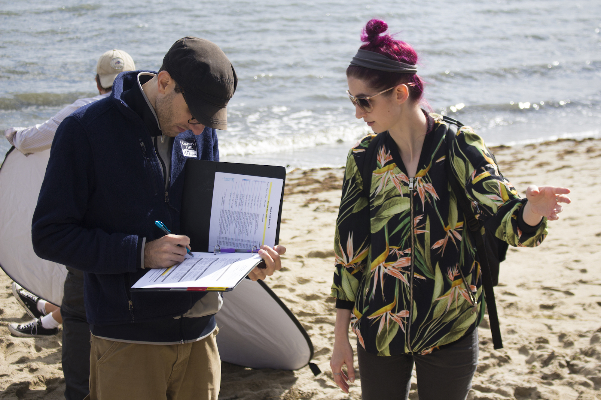 Assistant Director Adrian Atwood with Writer, Producer/Director Geena Matuson on the set of Matuson's production of 'Fauxmercials' beach ads, September 2016.