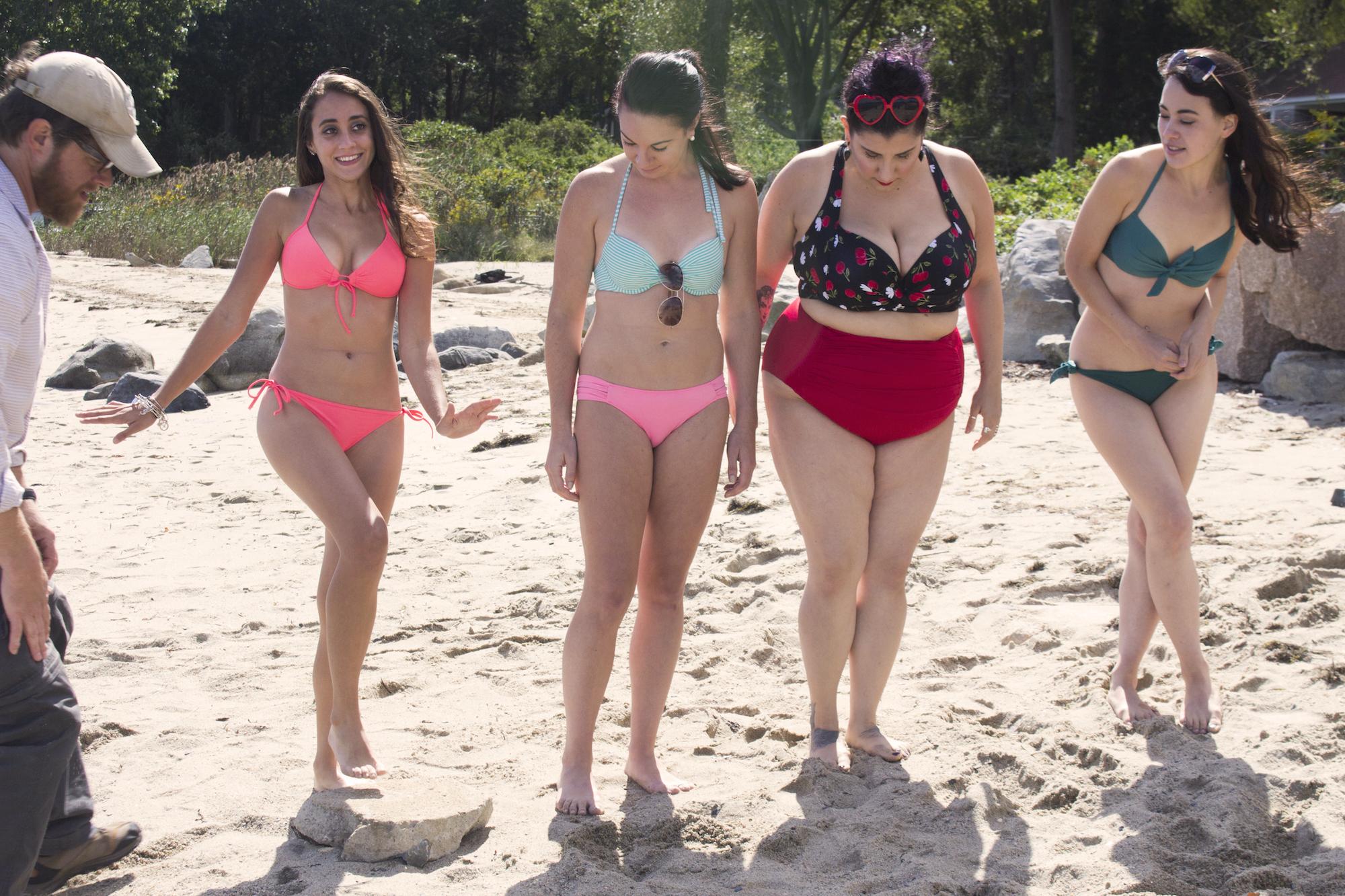 Grip/Gaffer Dan Perez de la Garza with Actors Acei Martin, Catalina Snape, Alessandra Grima and Maya Simone on the set of Geena Matuson's production of 'Fauxmercials' beach ads, September 2016.