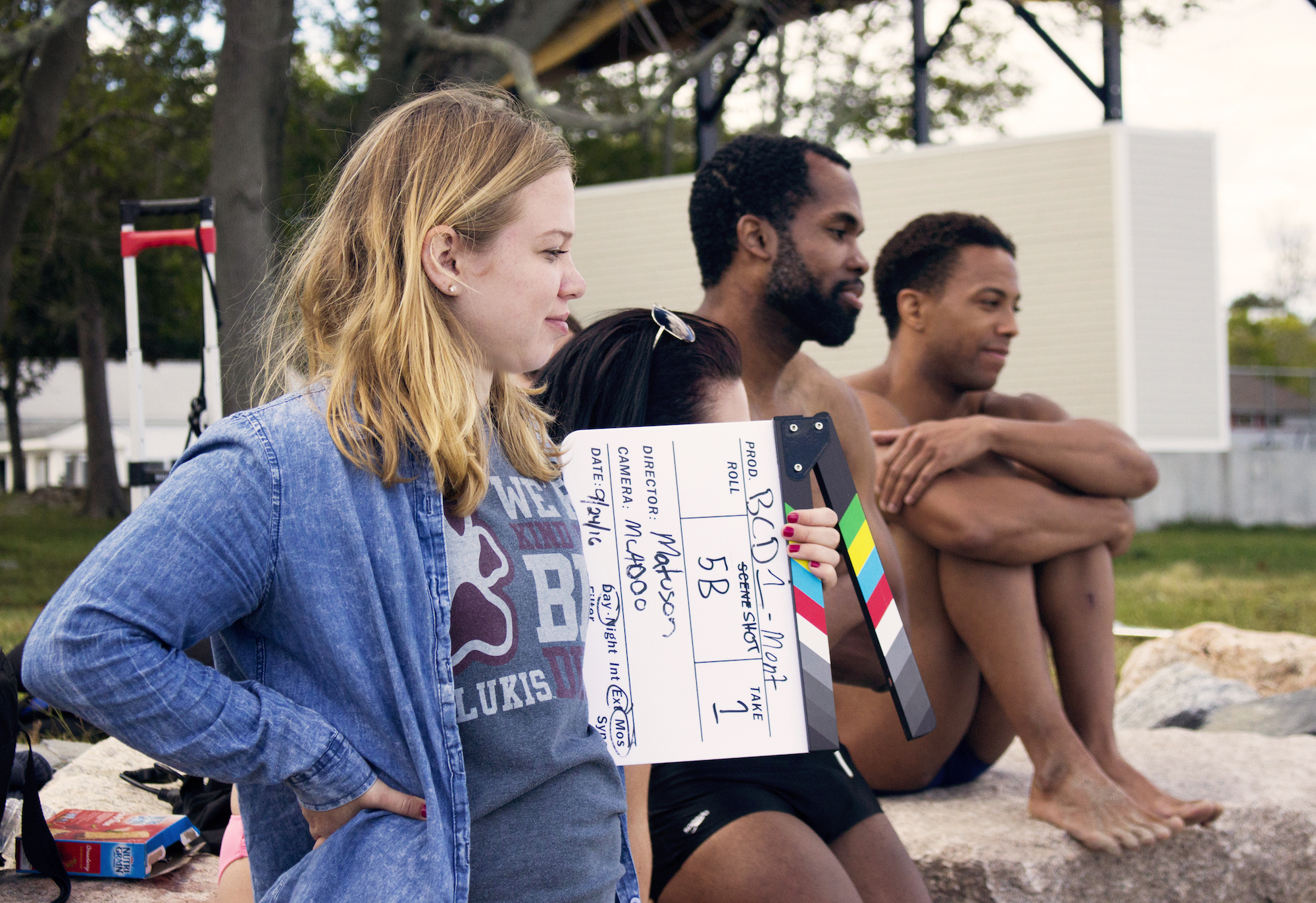 Production Assistant Paige Frankovich with Actors Kevin O. Peterson, Reggie Joseph and Sean Brown on set of Matuson's production of 'Fauxmercials' beach ads, September 2016.