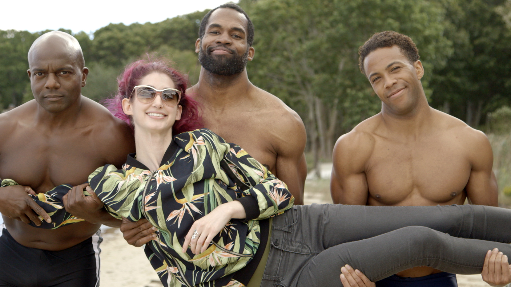 Writer, Director/Producer Geena Matuson with Actors Kevin Peterson, Reggie Joseph, and Sean Brown on the set of her production for comedic 'beach ads,' part of her 'Fauxmercials' series filming through 2017.