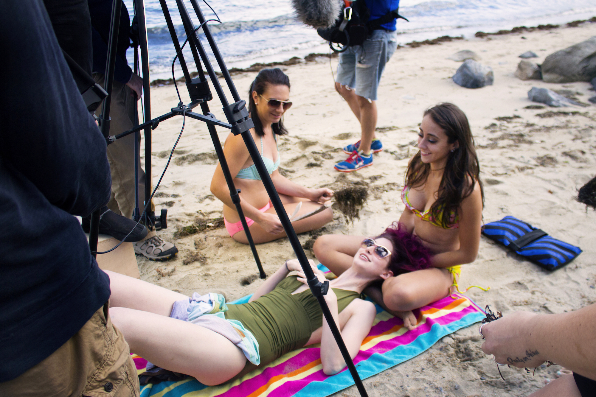Actors Catalina Snape and Acei Martin take position for the Geena Matuson's new 'reel' promo on the set of her production for comedic 'beach ads,' part of her 'Fauxmercials' series filming through 2017.